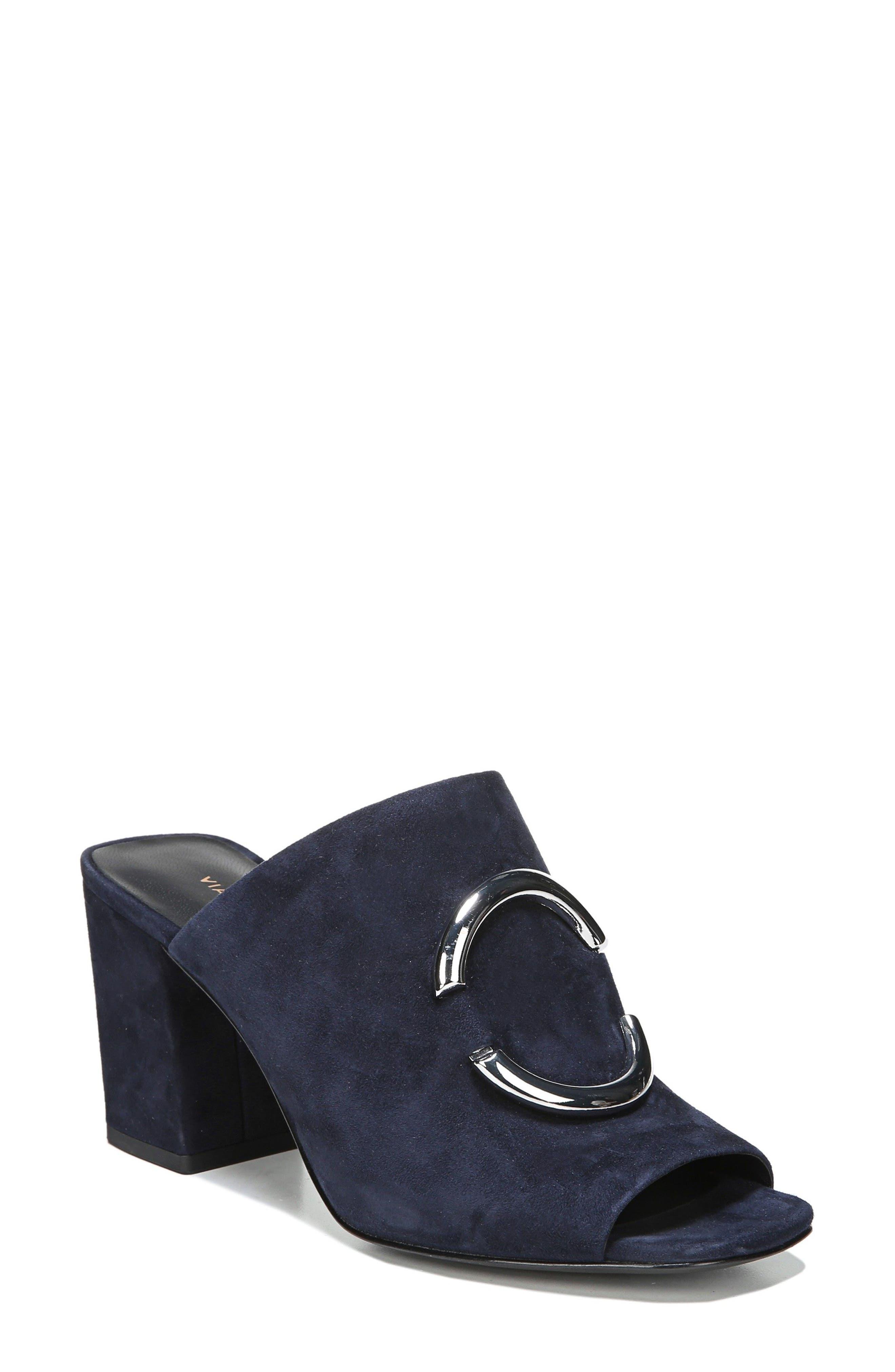 Eleni Slide Sandal,                         Main,                         color, Midnight Leather