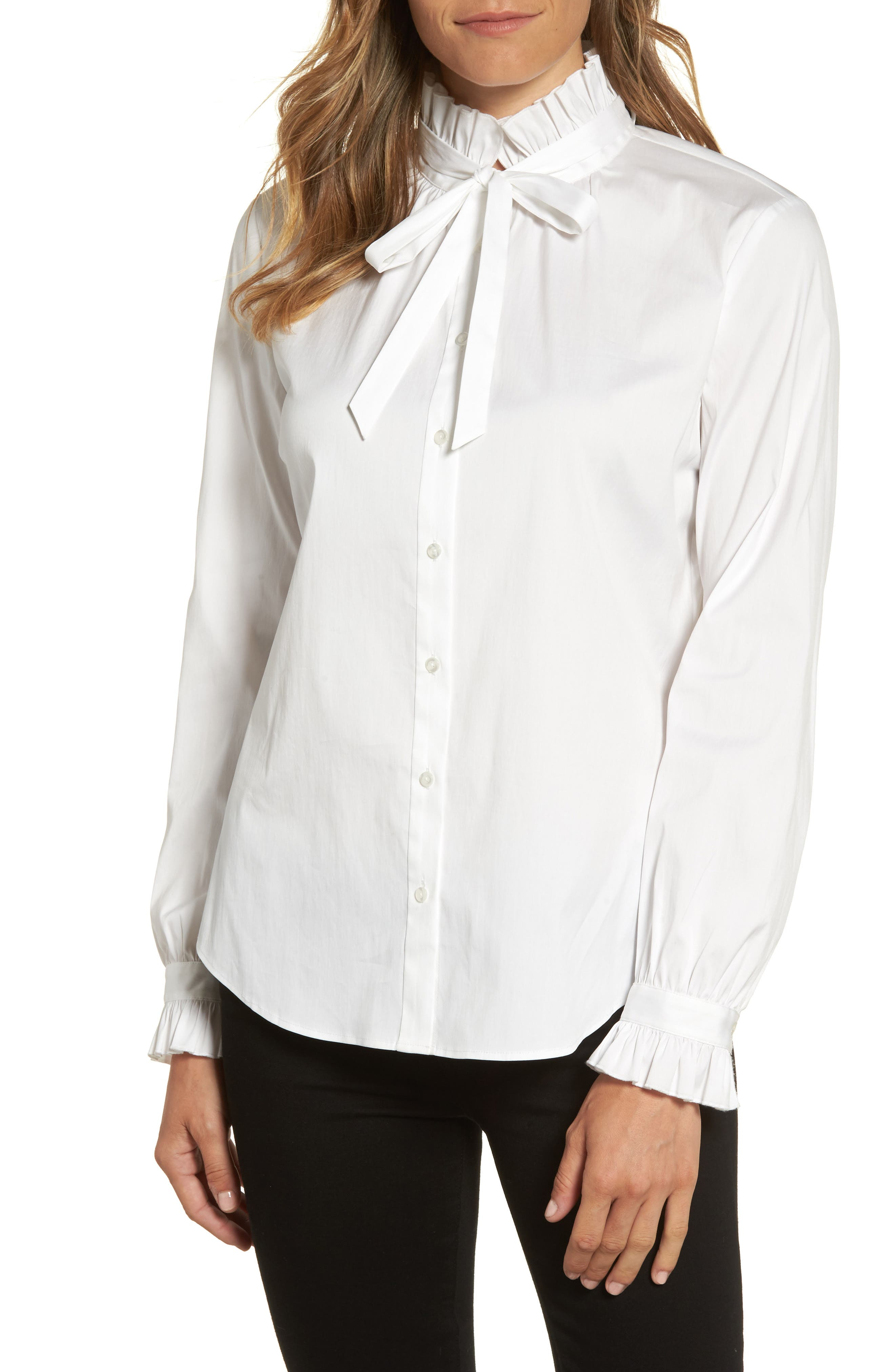 Ruffle Bow Neck Blouse,                         Main,                         color, White