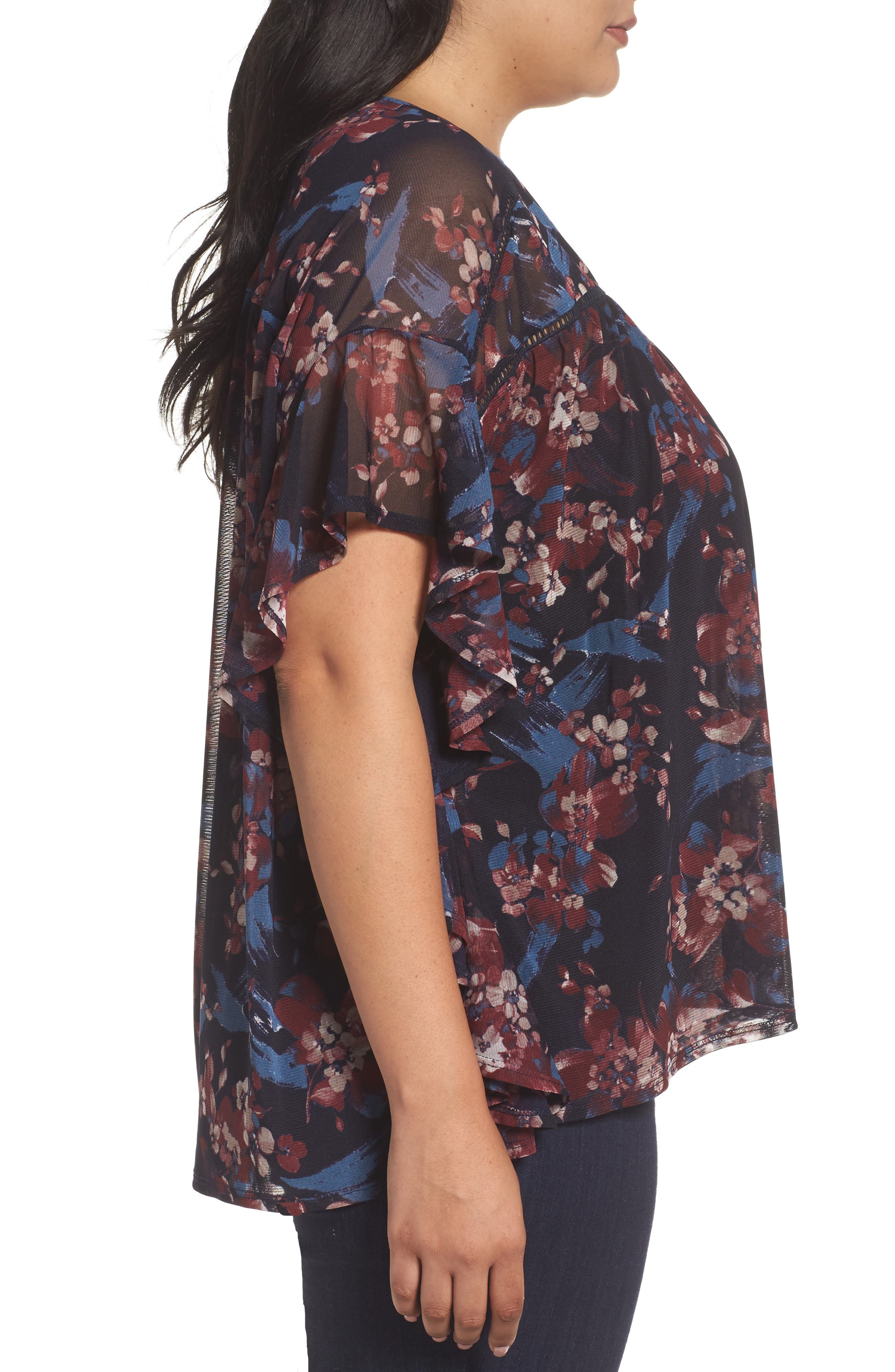 Ruffle Mesh Top,                             Alternate thumbnail 3, color,                             Painterly Floral Print