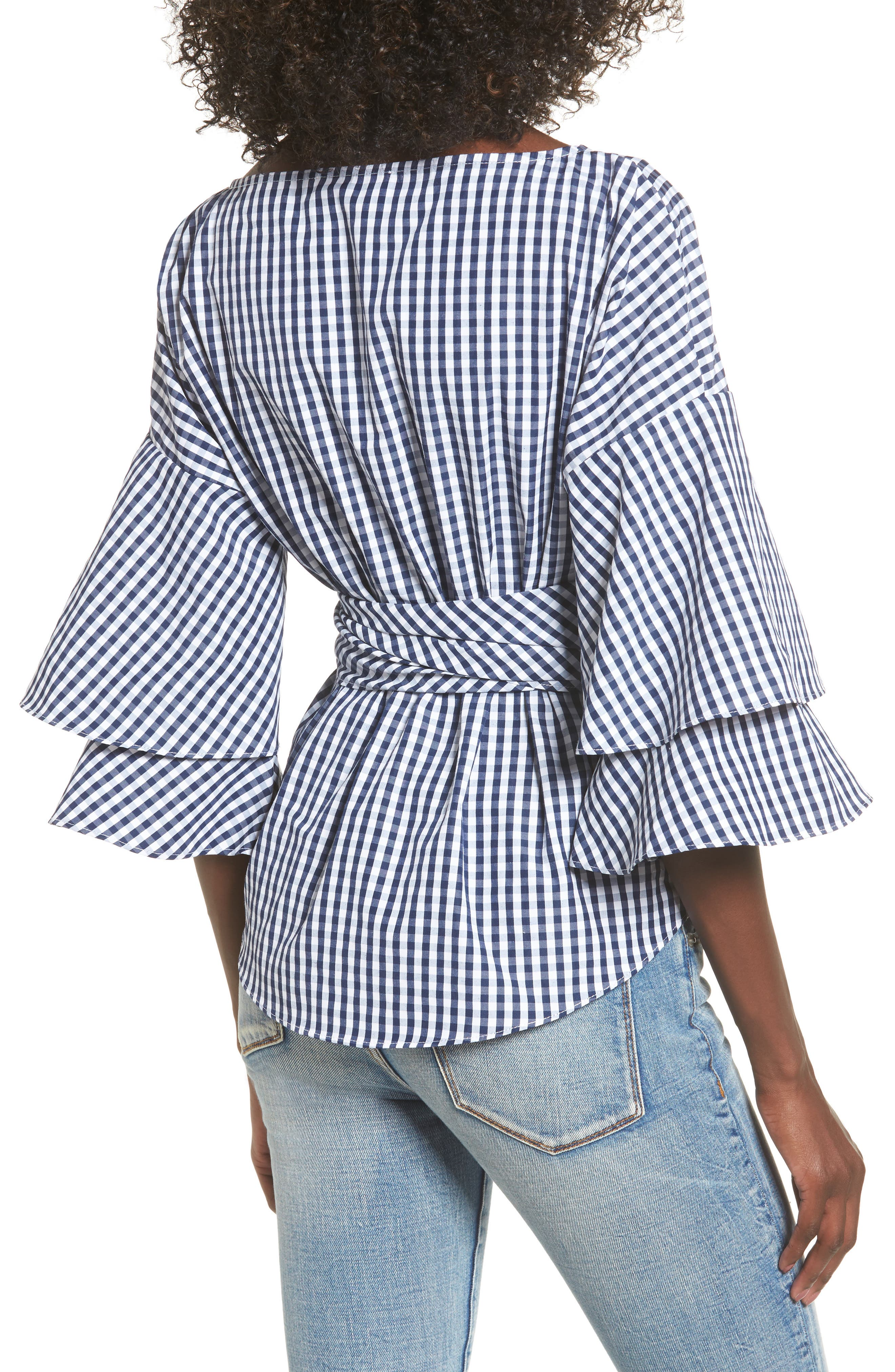 Beckett Tiered Bell Sleeve Top,                             Alternate thumbnail 3, color,                             Navy/ White