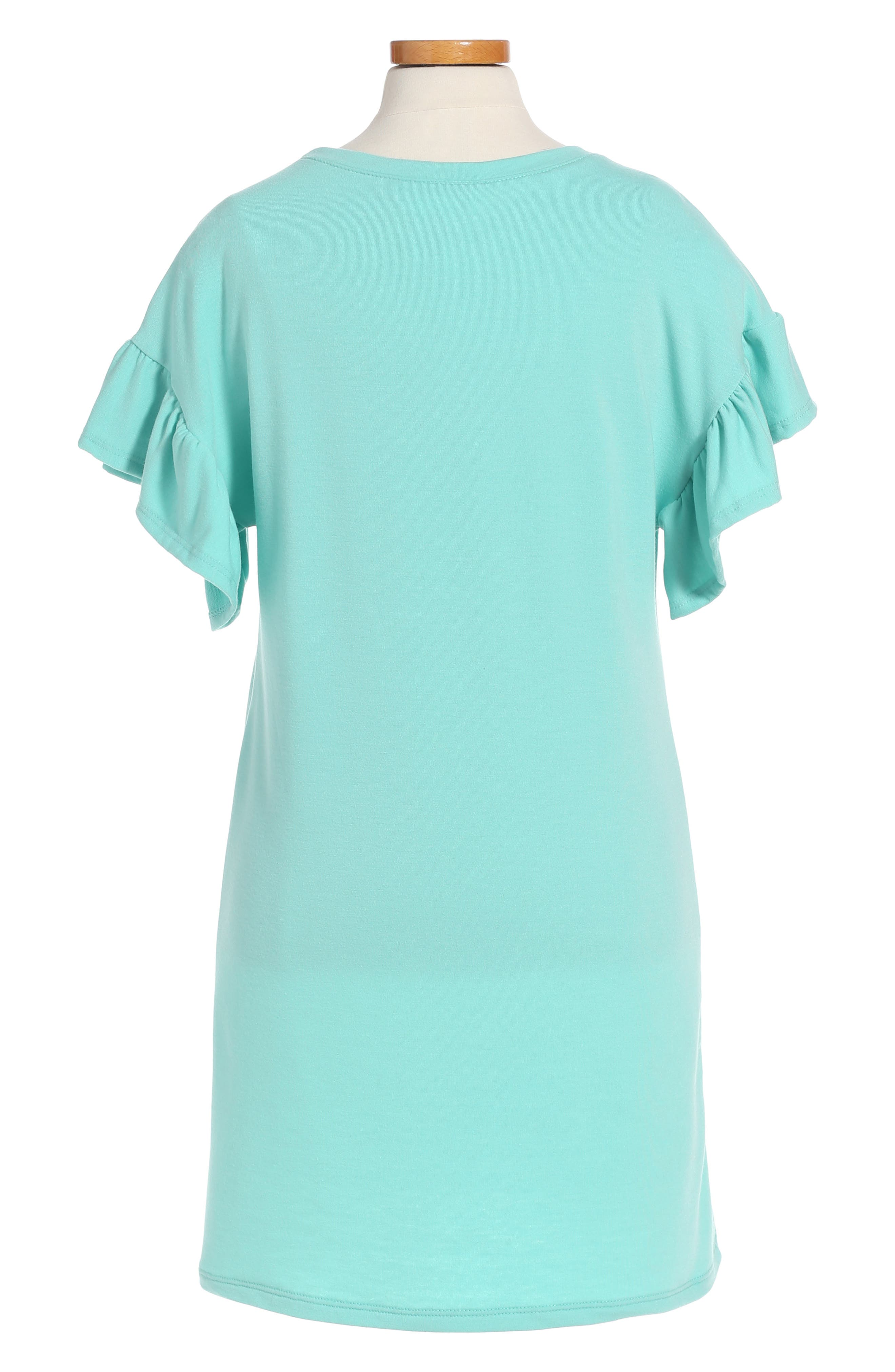Alternate Image 2  - Cotton Emporium Ruffle Sleeve Dress (Big Girls)