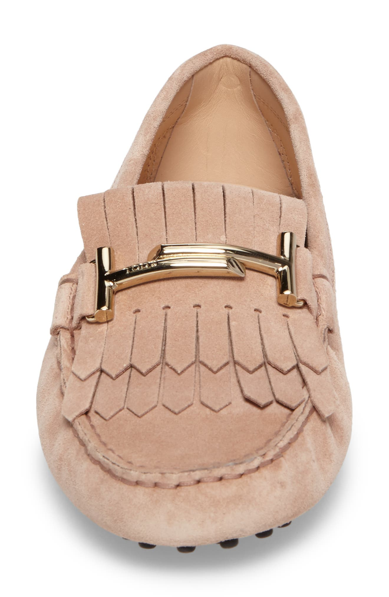 Double T Fringe Gommino Loafer,                             Alternate thumbnail 4, color,                             Cheek Beige