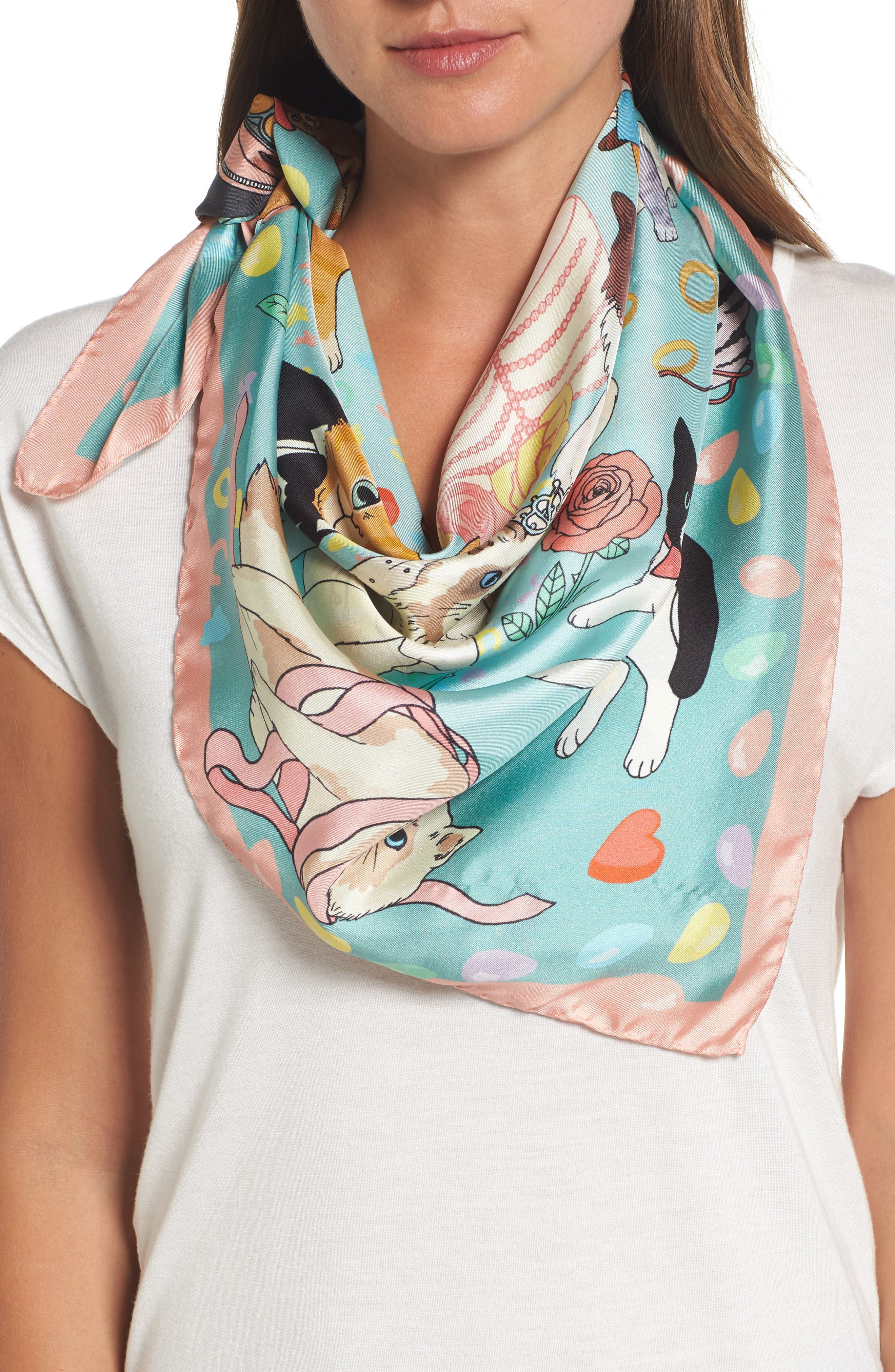 Alternate Image 1 Selected - Karen Mabon Confetti Square Silk Scarf