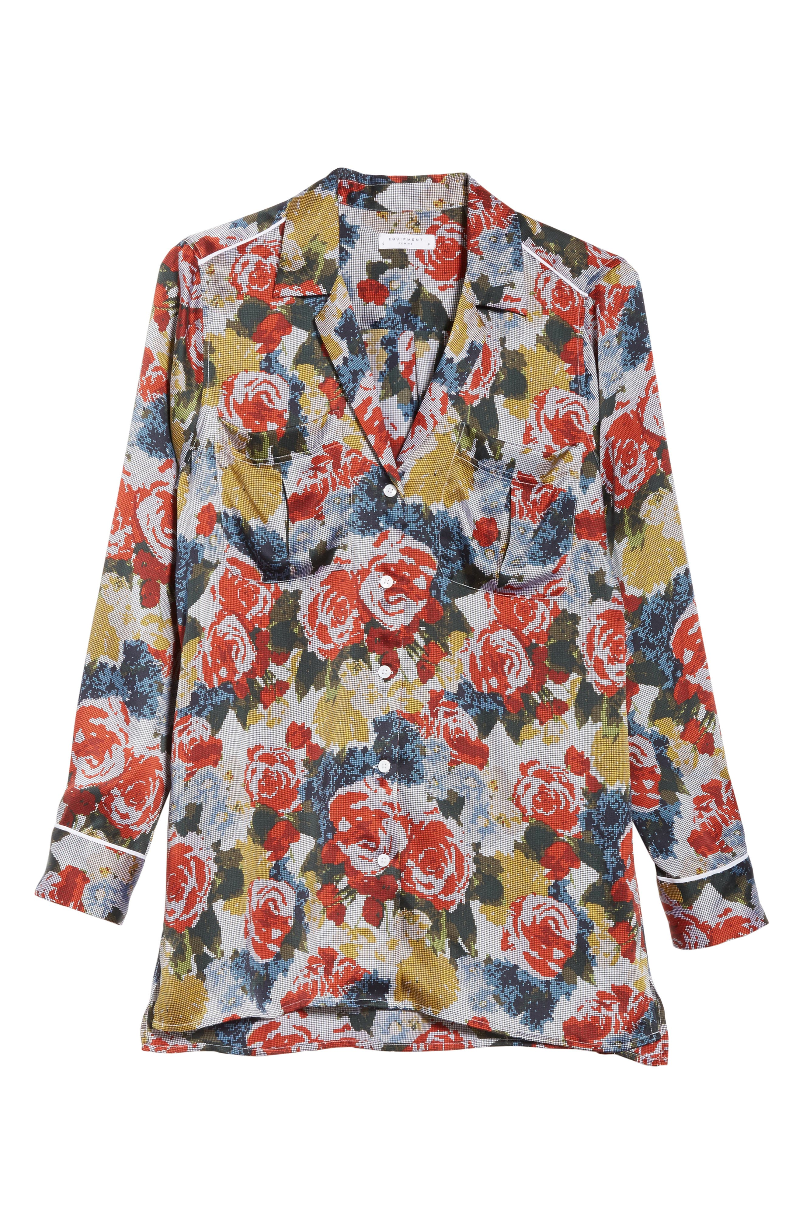 Alternate Image 6  - Equipment Sonny Floral Silk PJ Top