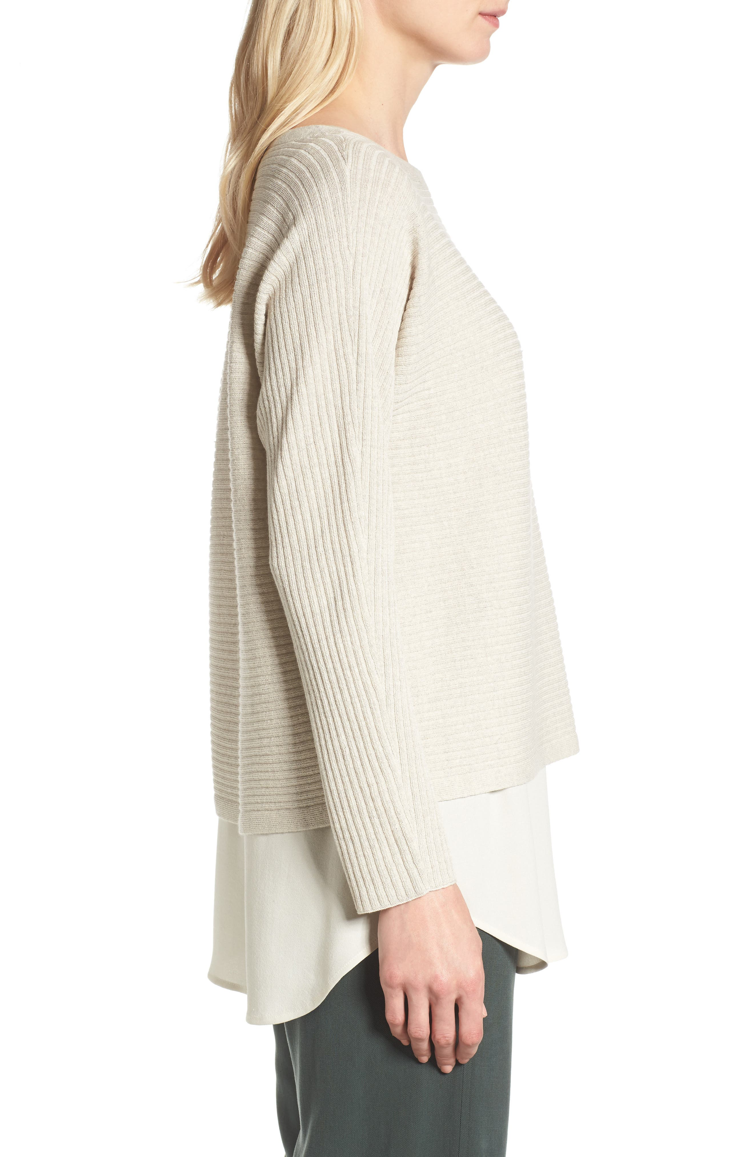 Alternate Image 3  - Eileen Fisher Boxy Ribbed Wool Sweater