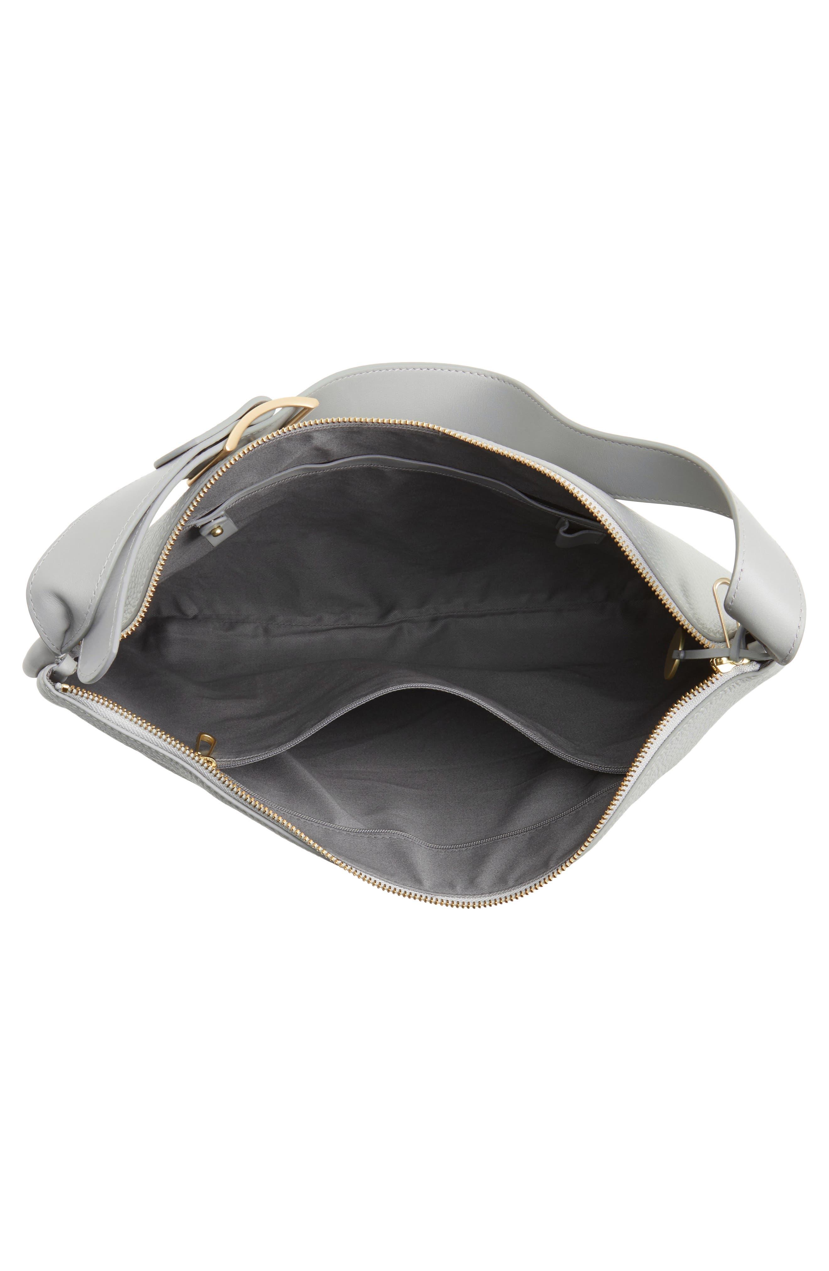Anesa Leather Shoulder Bag,                             Alternate thumbnail 3, color,                             Light Ash