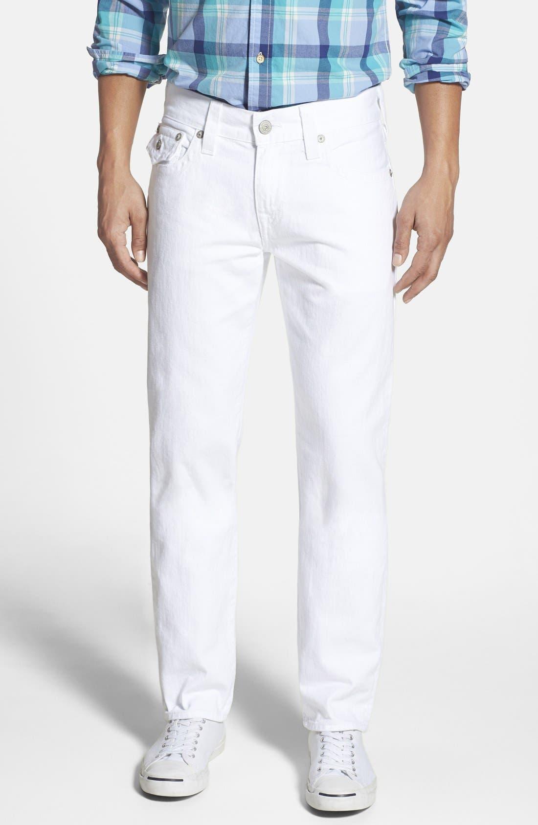 Main Image - True Religion Brand Jeans 'Geno' Straight Leg Jeans (Optic White)