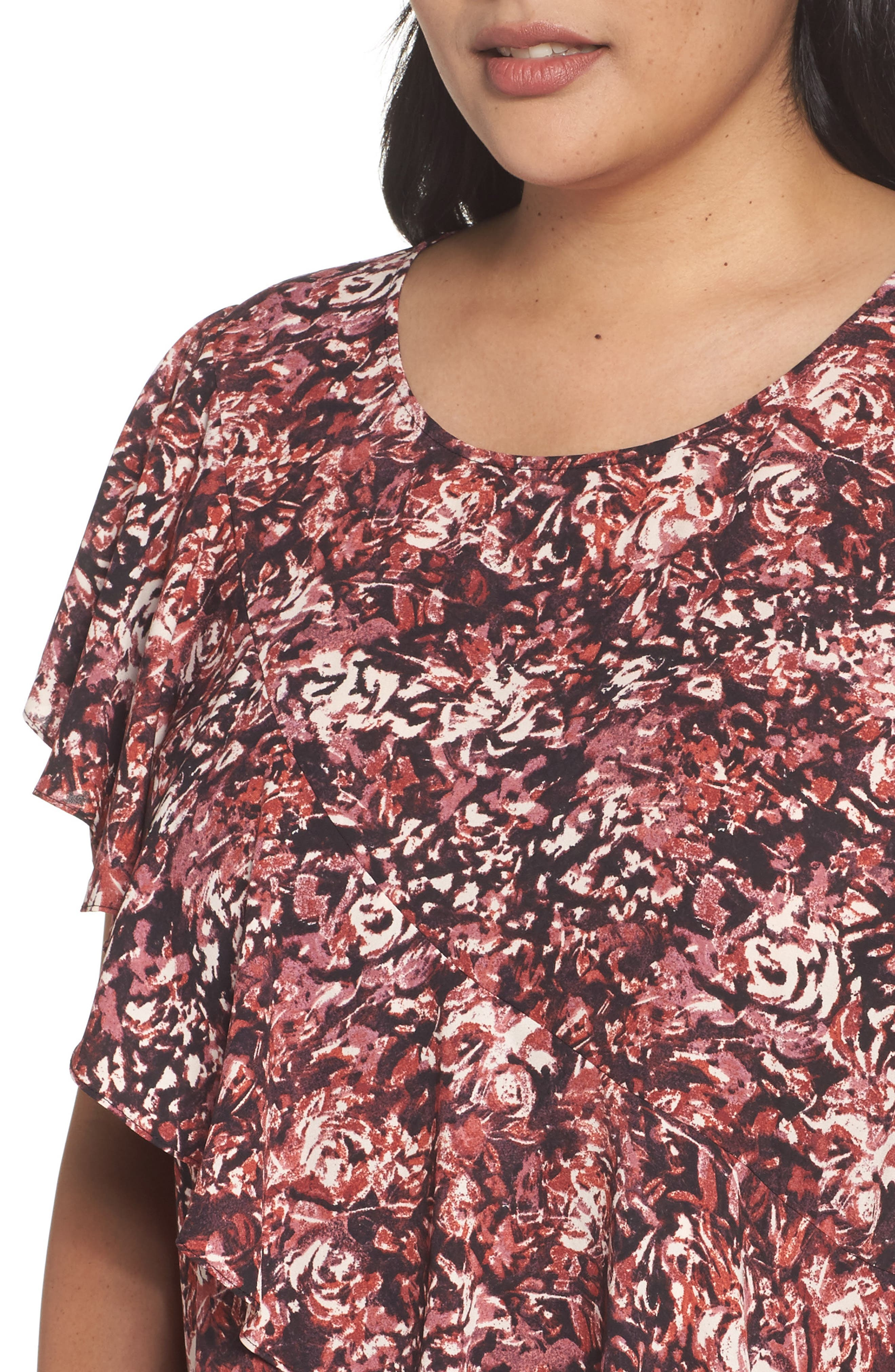 Alternate Image 4  - Sejour Woven Ruffle Tee (Plus Size)