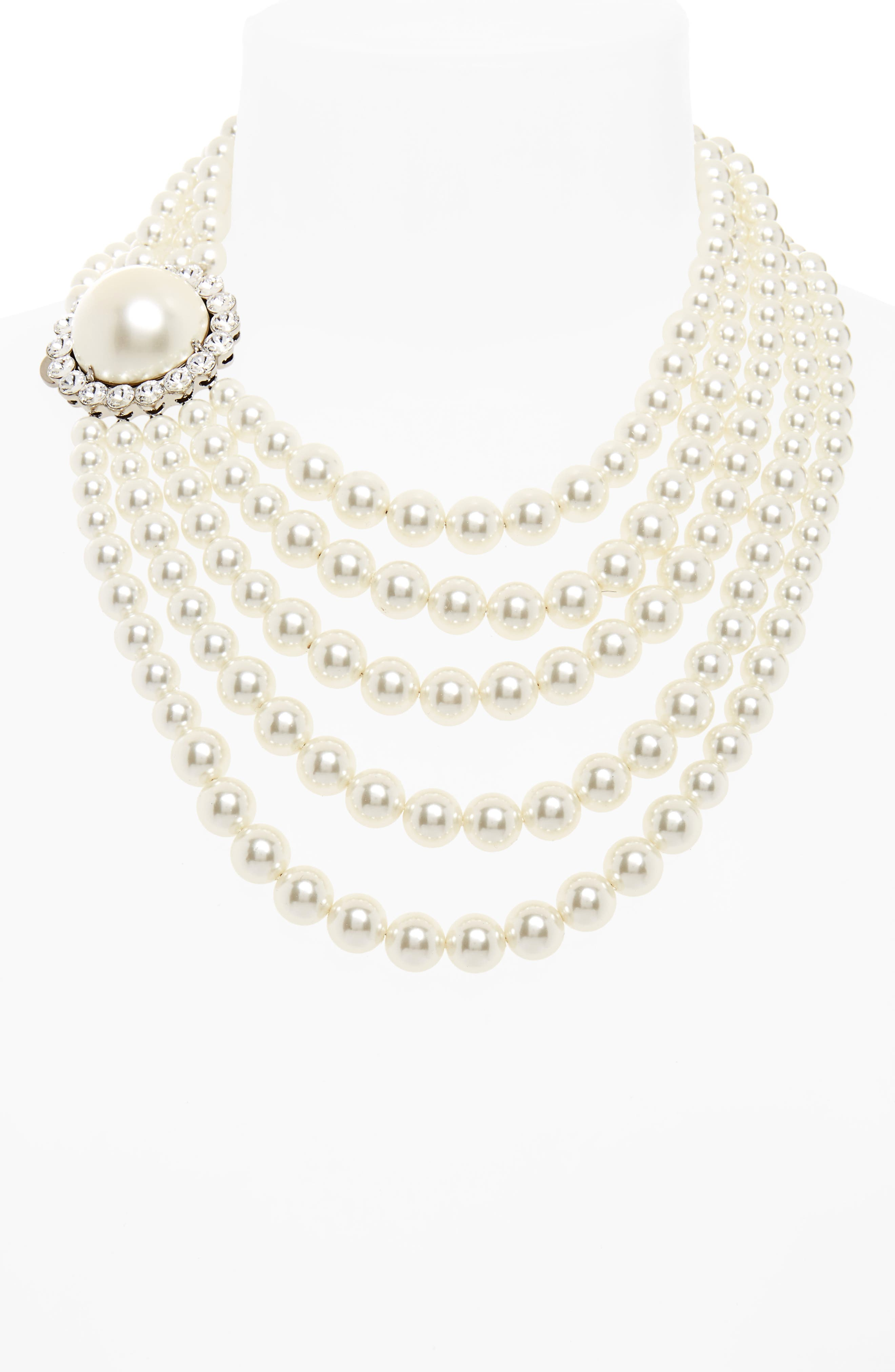 Multistrand Imitation Pearl Necklace,                             Alternate thumbnail 2, color,                             Pearl