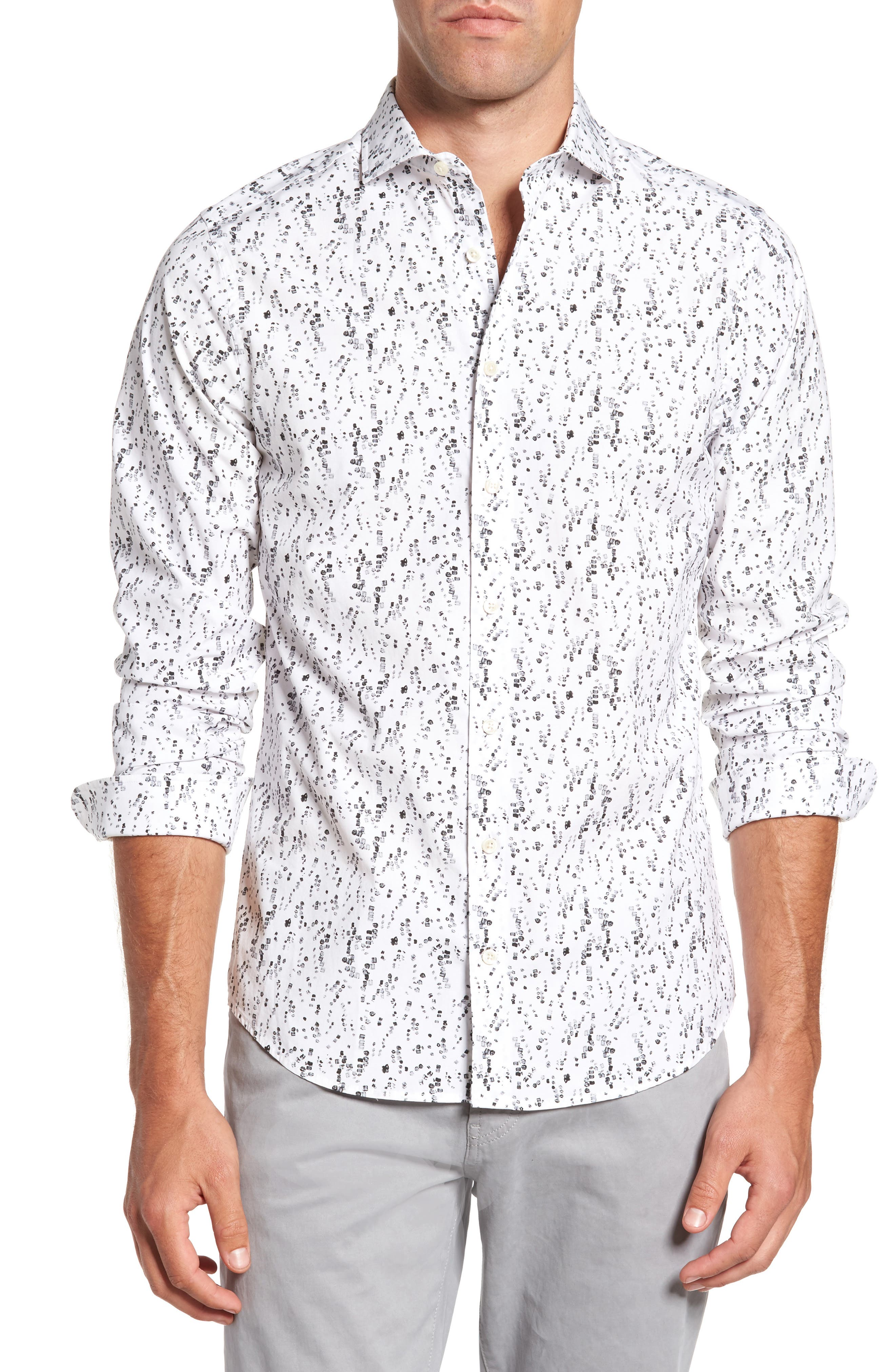 Slim Fit Crushed Ice Print Sport Shirt,                         Main,                         color, Black
