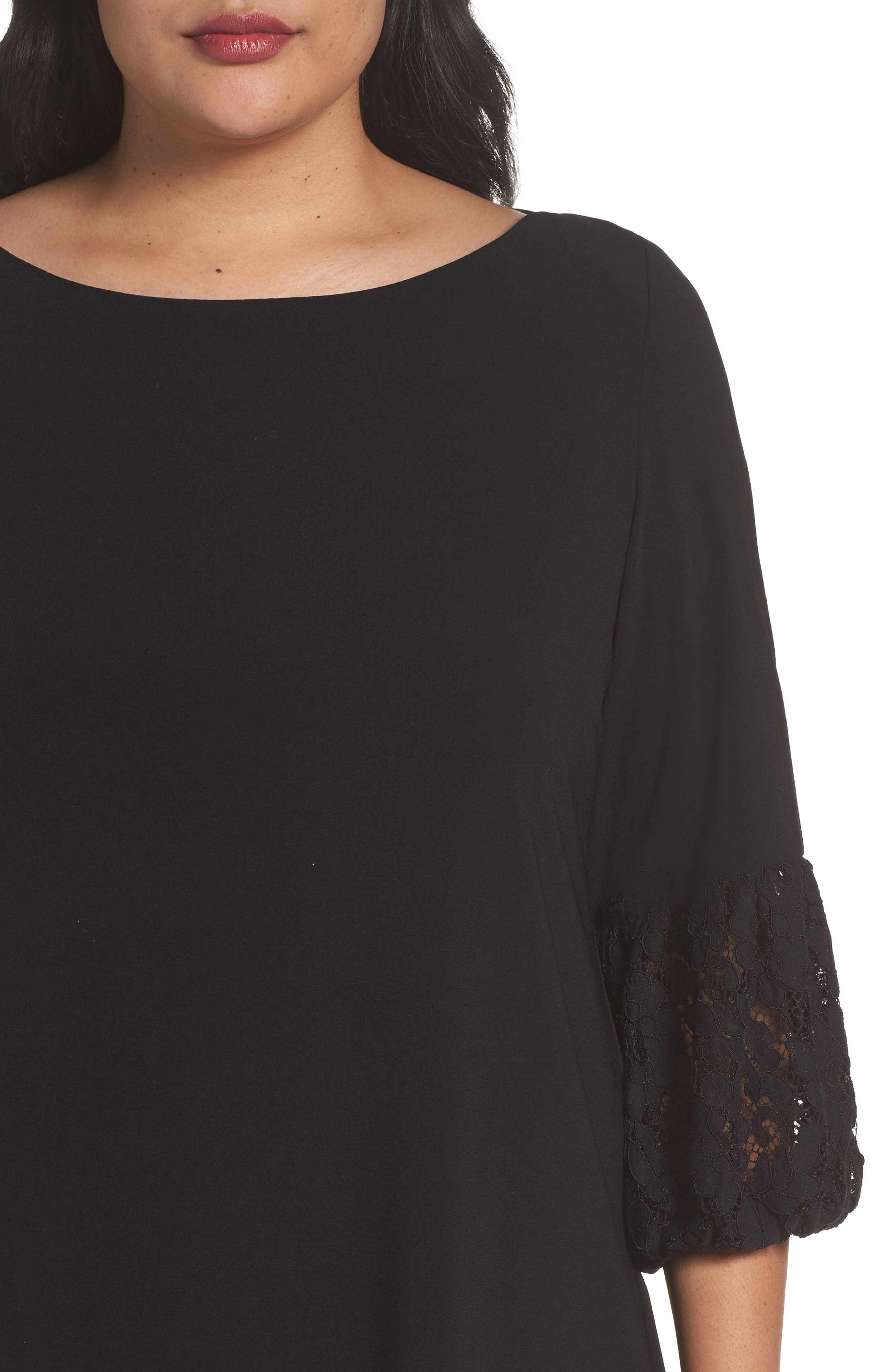 Lace Sleeve Trapeze Dress,                             Alternate thumbnail 4, color,                             Black