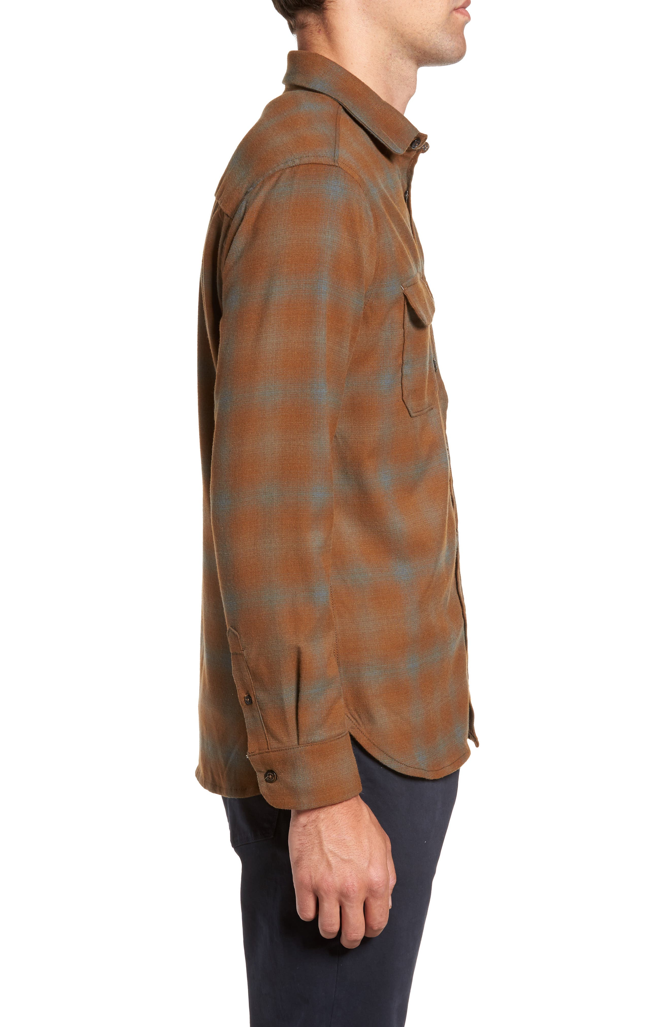 Peak Flannel Sport Shirt,                             Alternate thumbnail 3, color,                             Eagle Nest Heather