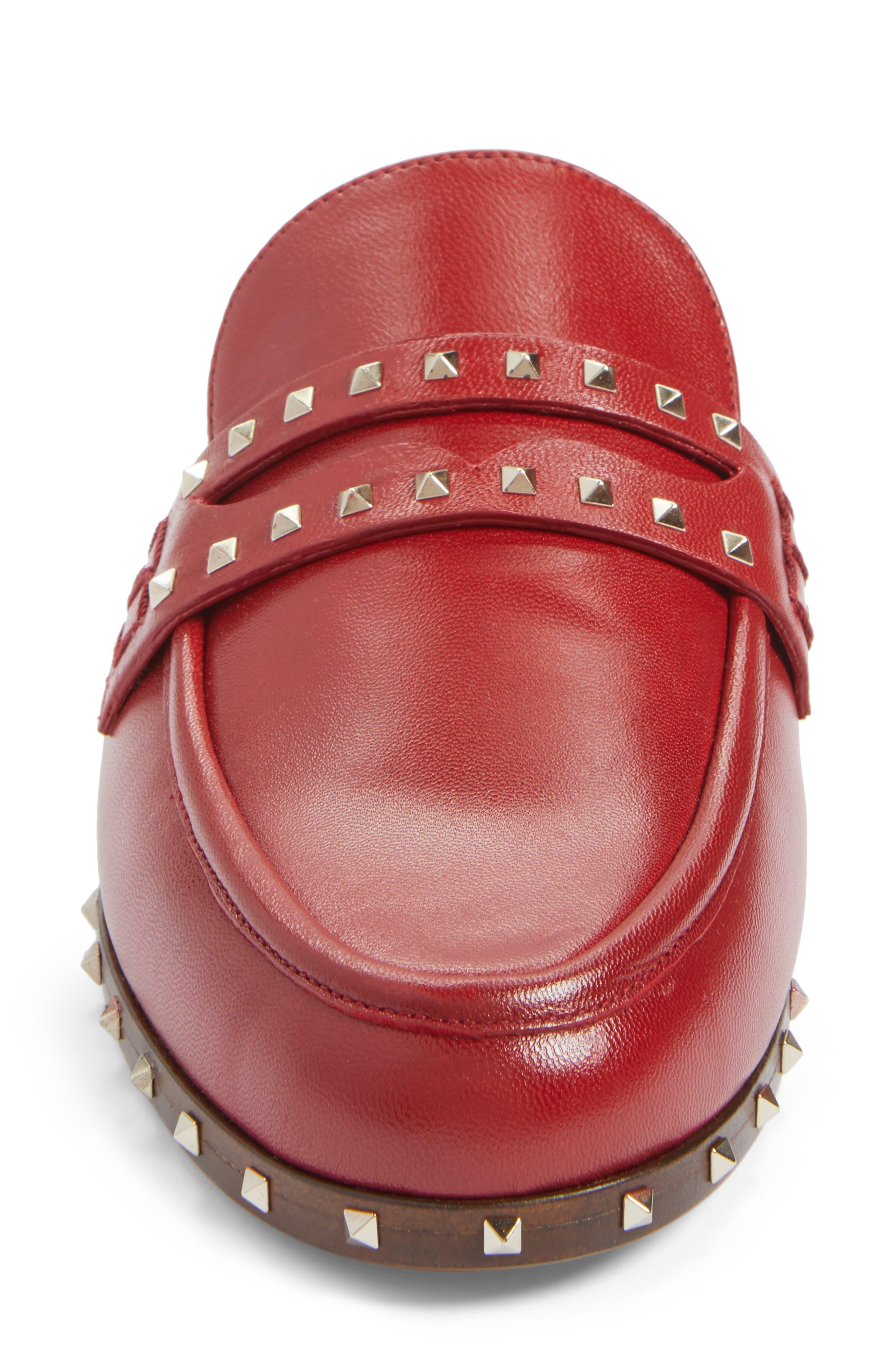 Soul Rockstud Loafer Mule,                             Alternate thumbnail 4, color,                             Red Leather