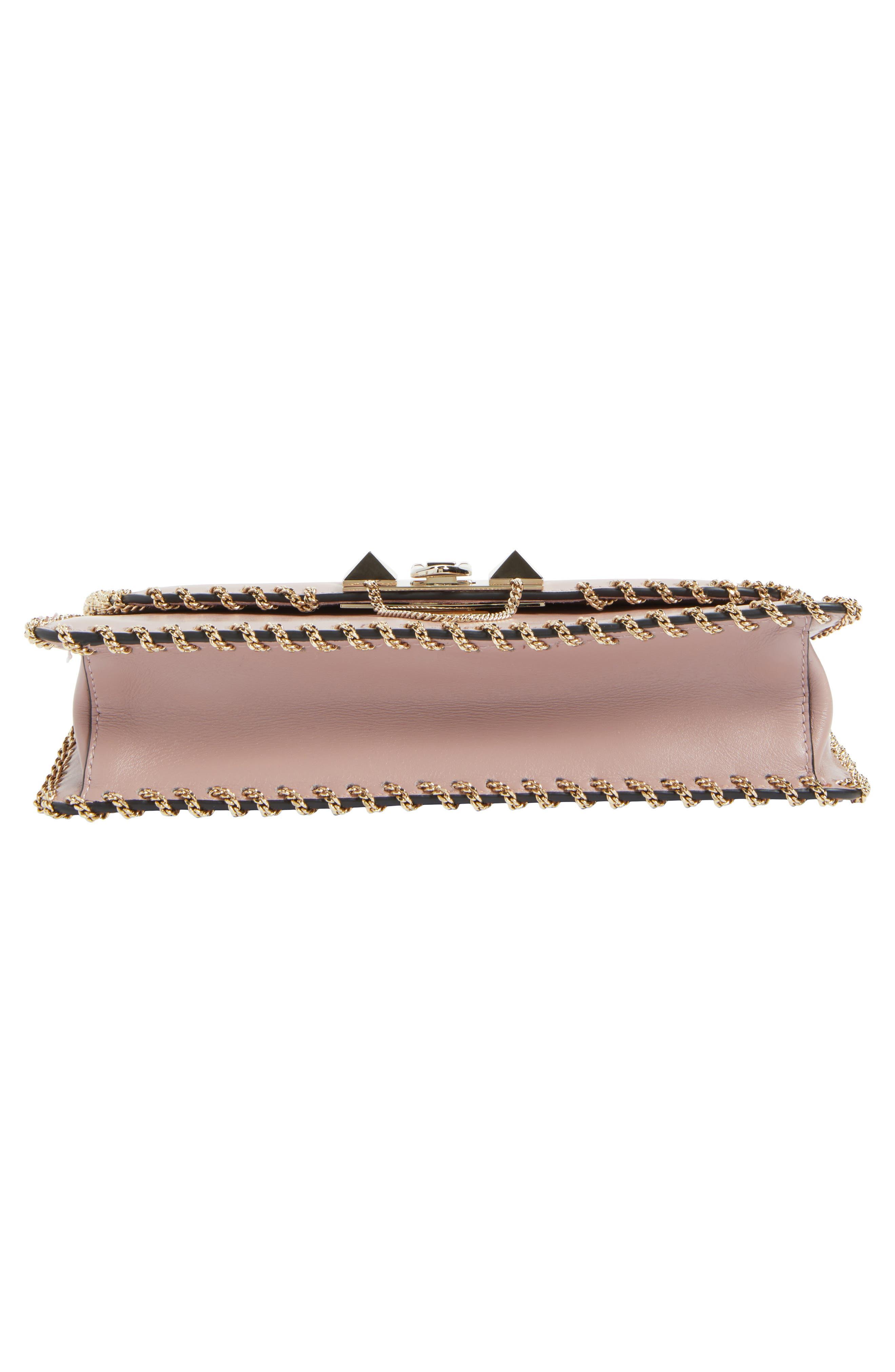 Demilune Whipstitch Leather Shoulder Bag,                             Alternate thumbnail 5, color,                             Lipstick