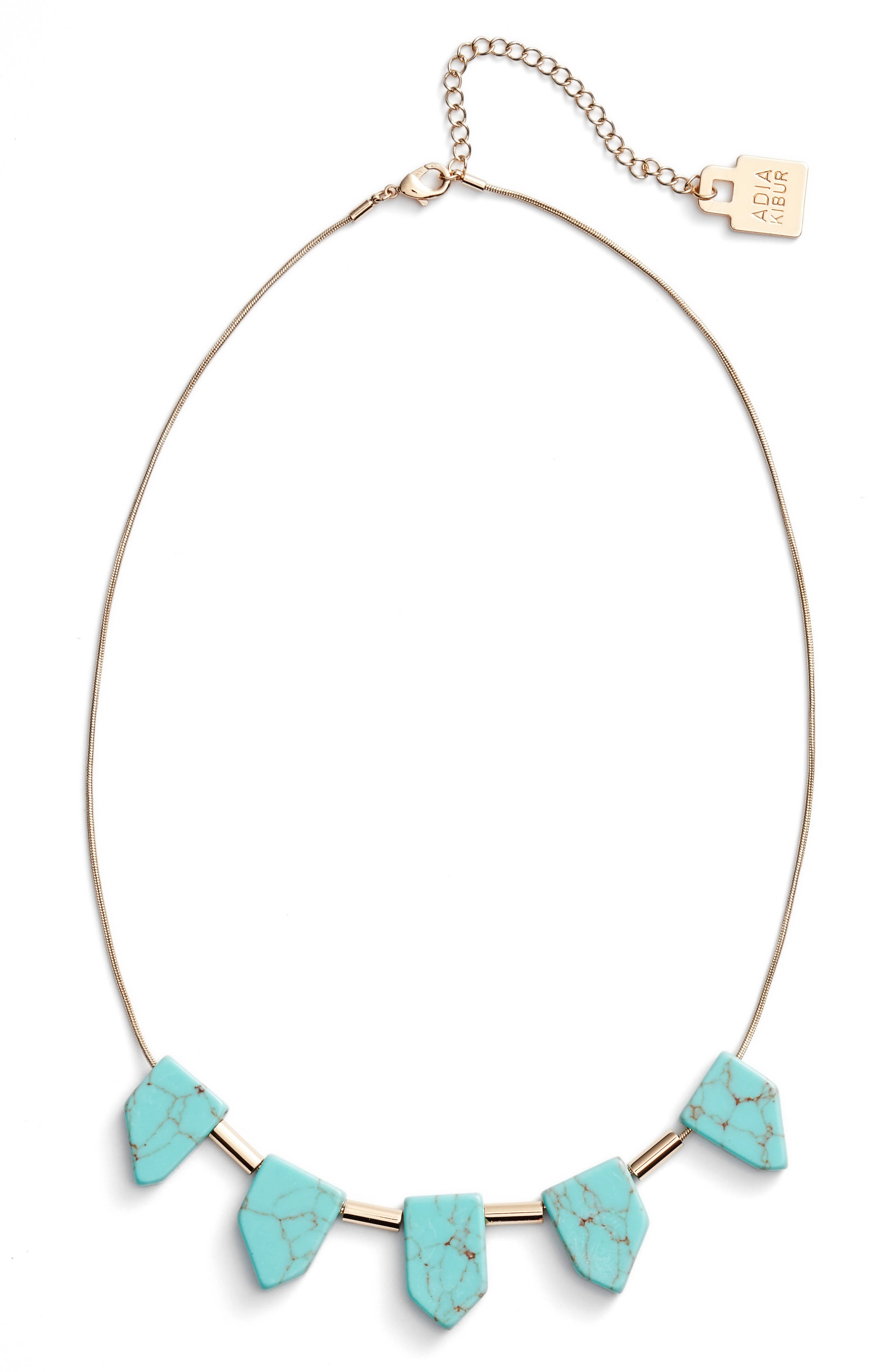 Frontal Necklace,                         Main,                         color, Turquoise