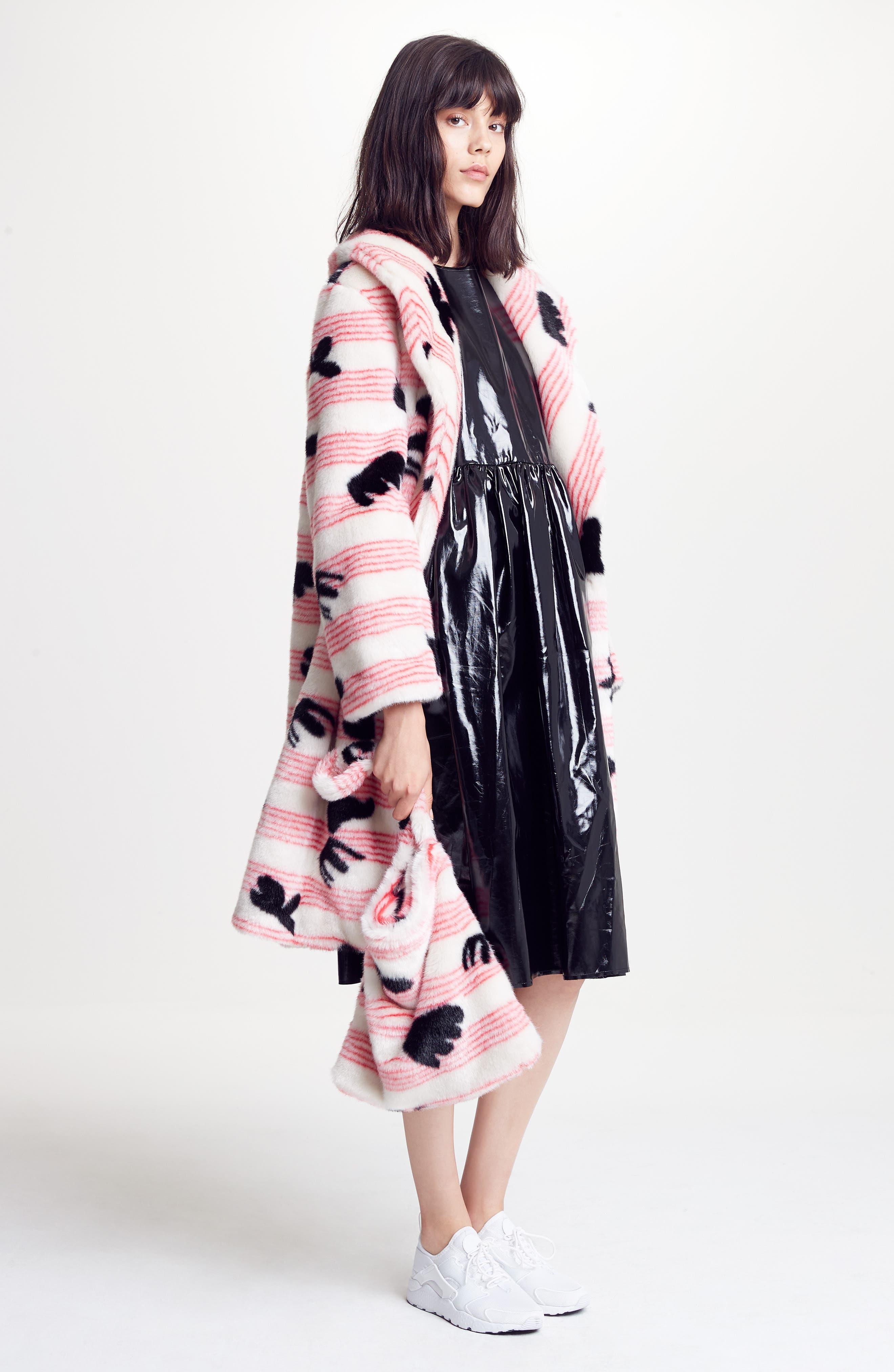 Elspeth Faux Fur Coat,                             Alternate thumbnail 8, color,                             Red/ White