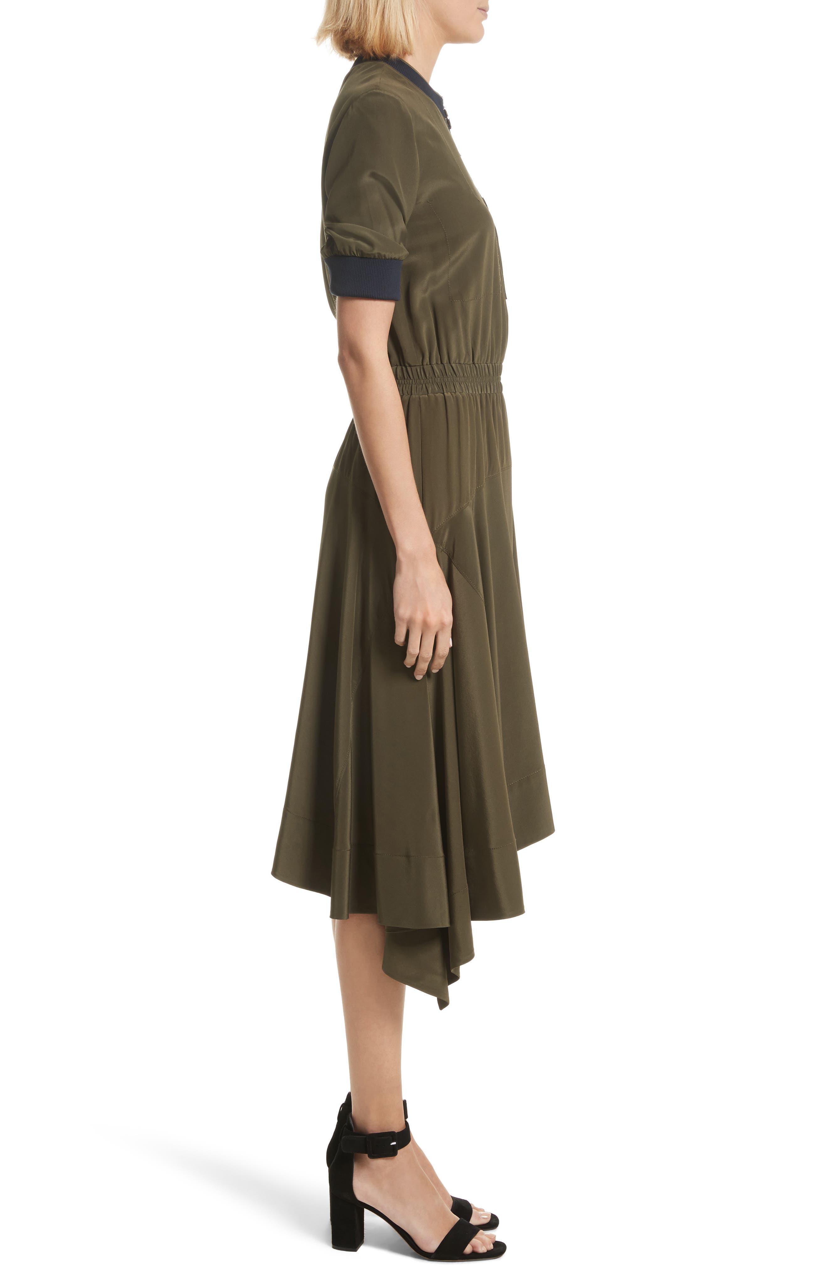 Ribbed Detail Silk Handkerchief Dress,                             Alternate thumbnail 3, color,                             Moss