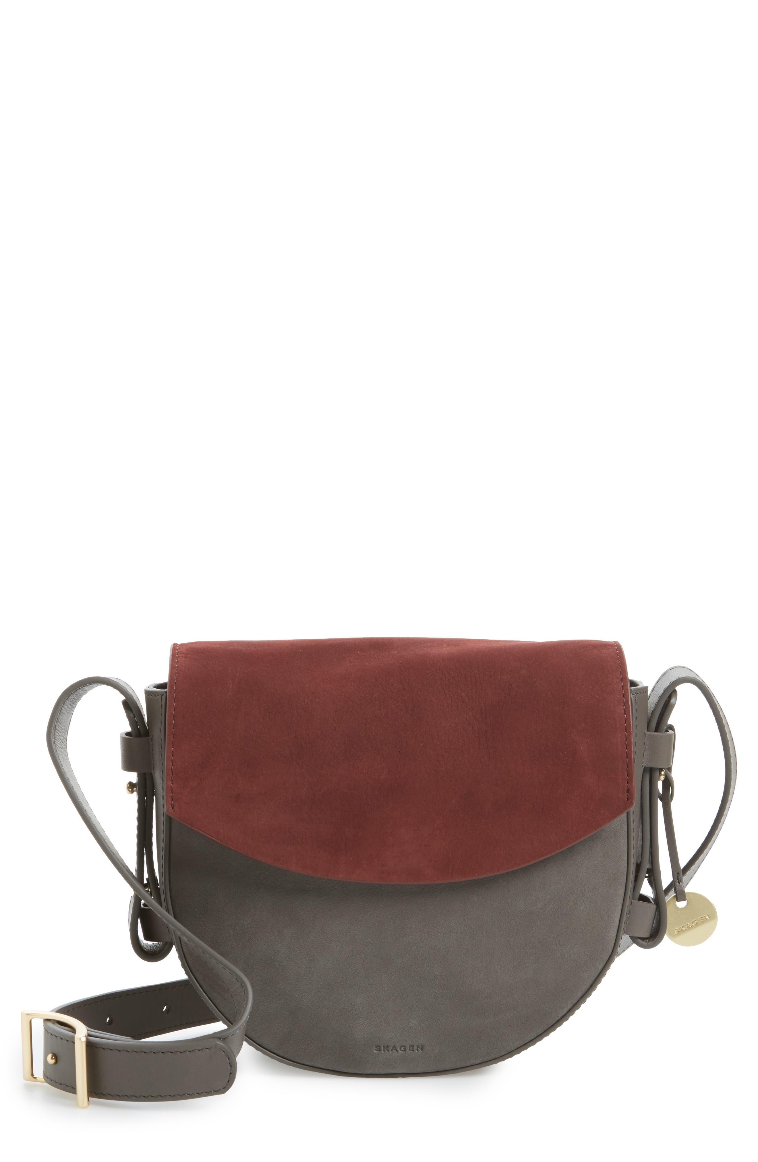 Lobelle Leather Saddle Bag,                             Main thumbnail 1, color,                             Pewter