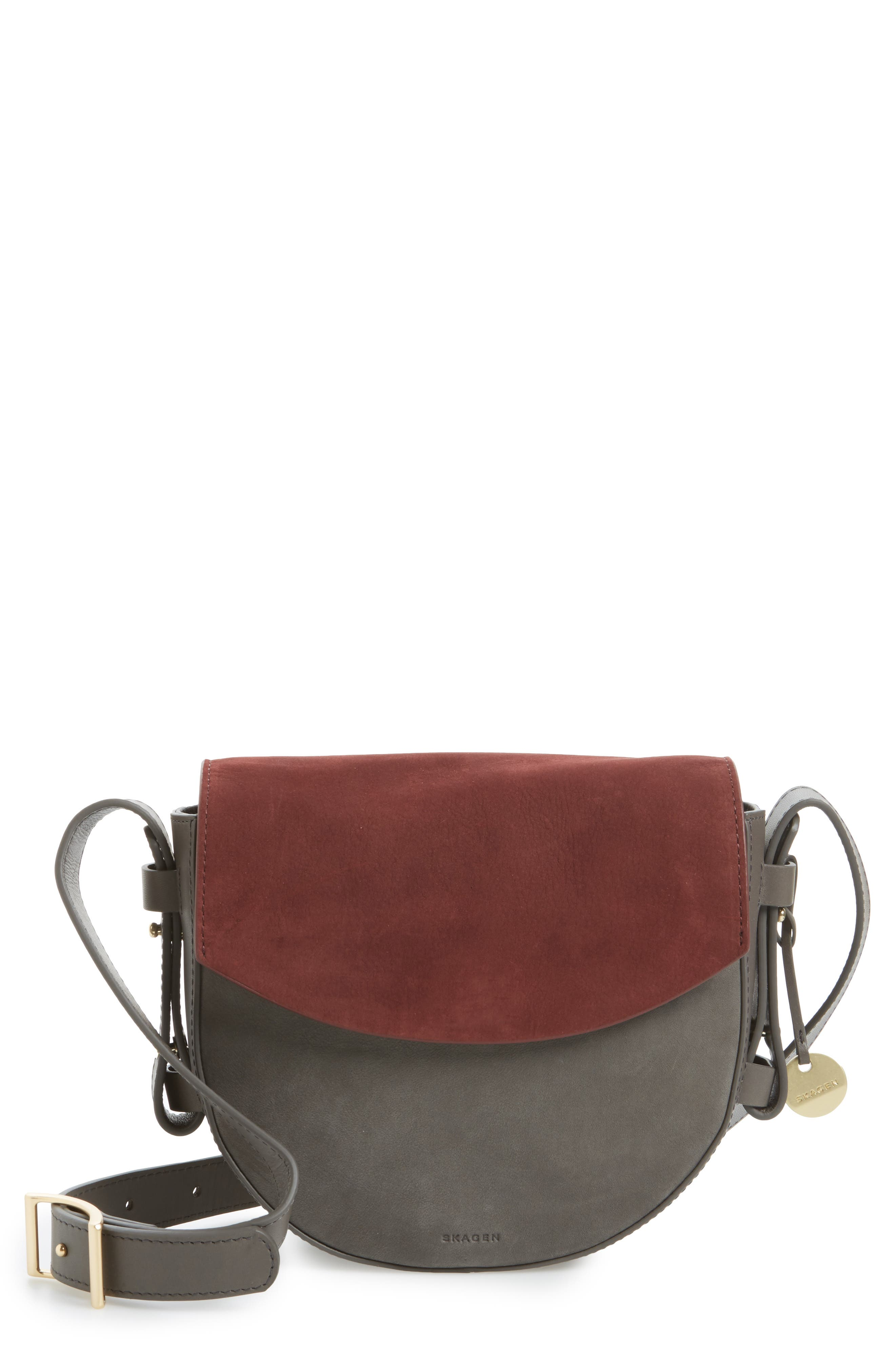 Lobelle Leather Saddle Bag,                         Main,                         color, Pewter