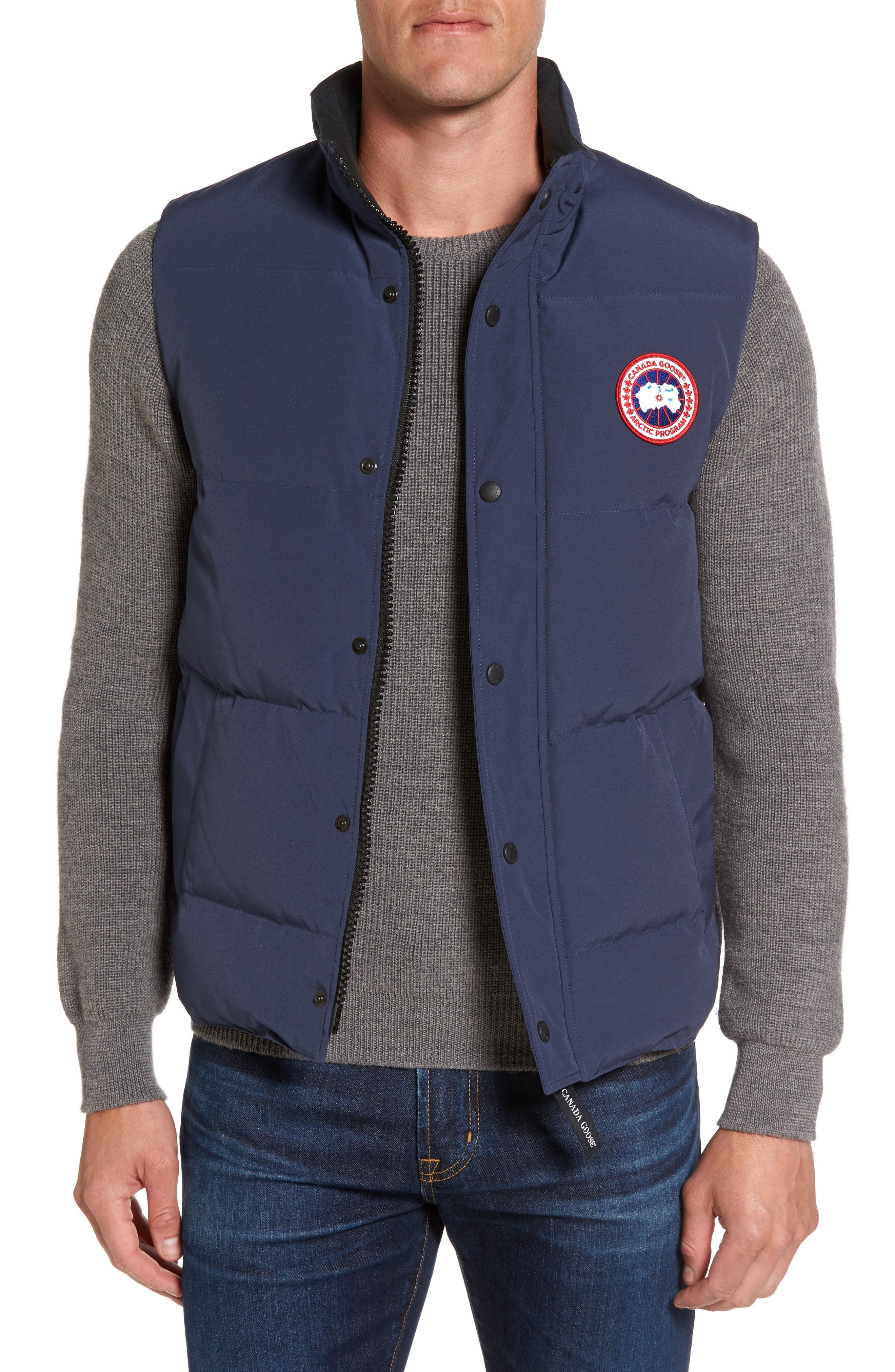 Garson Quilted Down Vest,                         Main,                         color, Navy