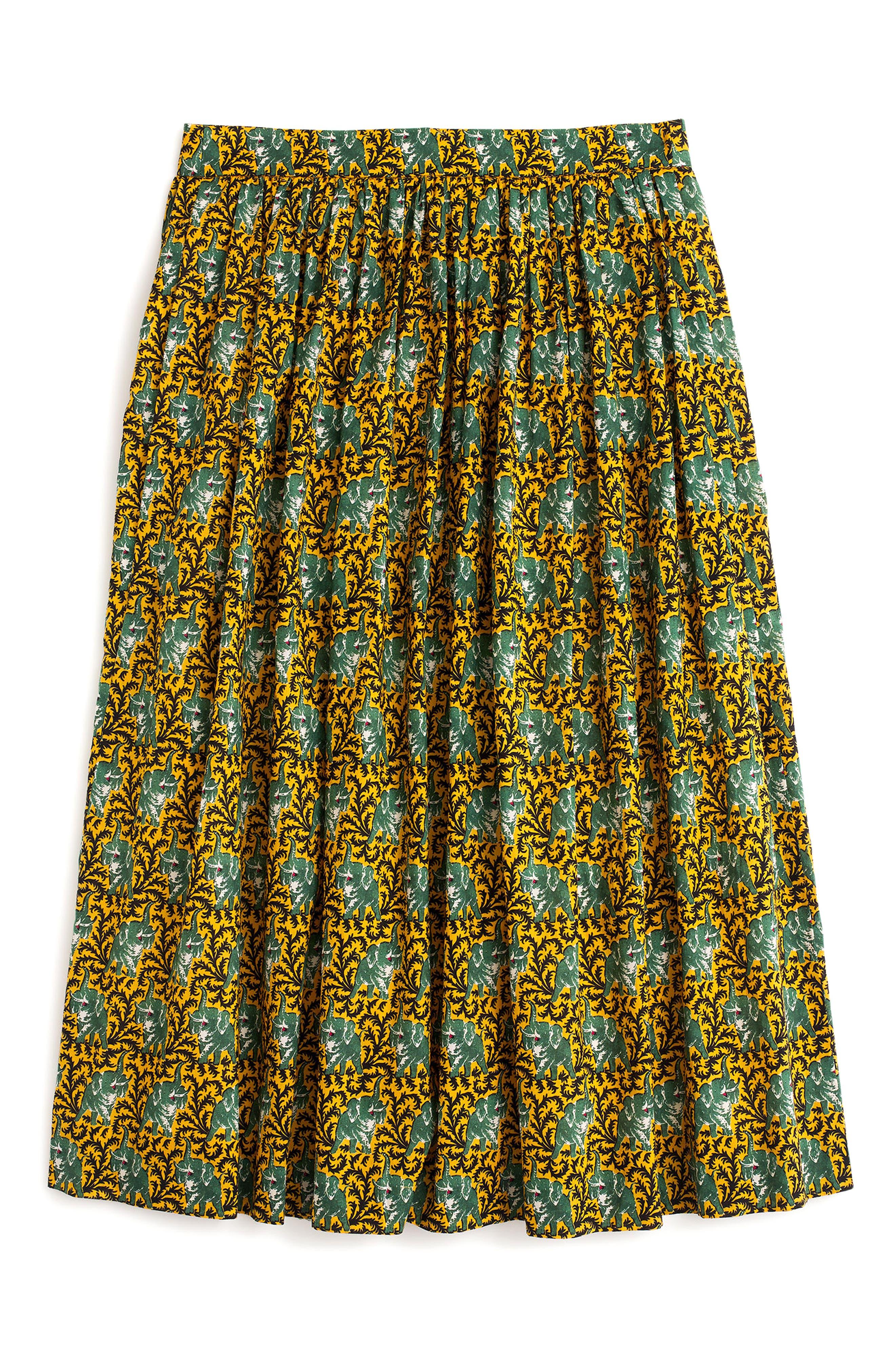 J.Crew Elephant Print Skirt,                             Alternate thumbnail 4, color,                             Dark Curry
