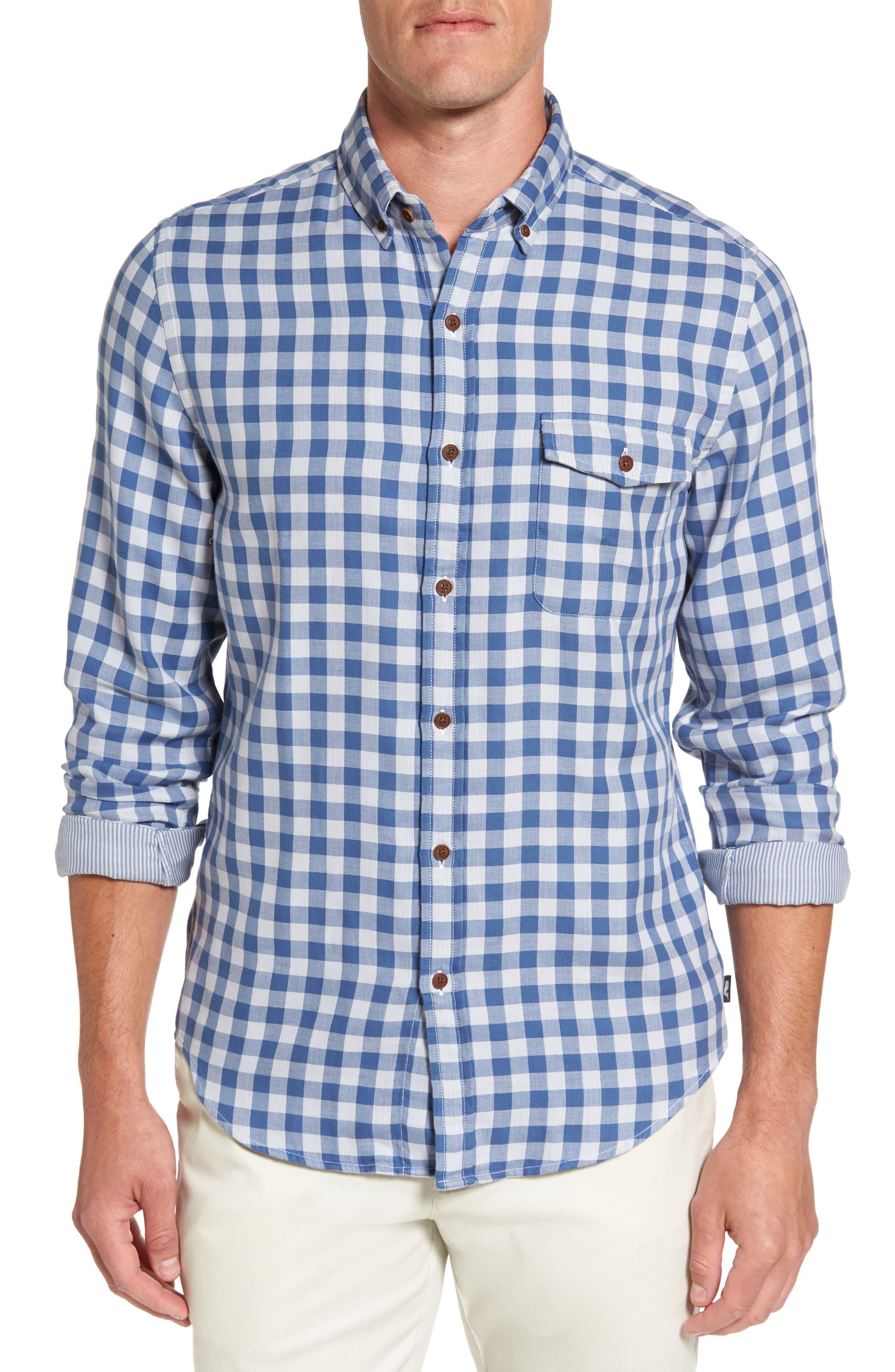 Main Image - vineyard vines Crosby Slim Blue Heron Gingham Sport Shirt