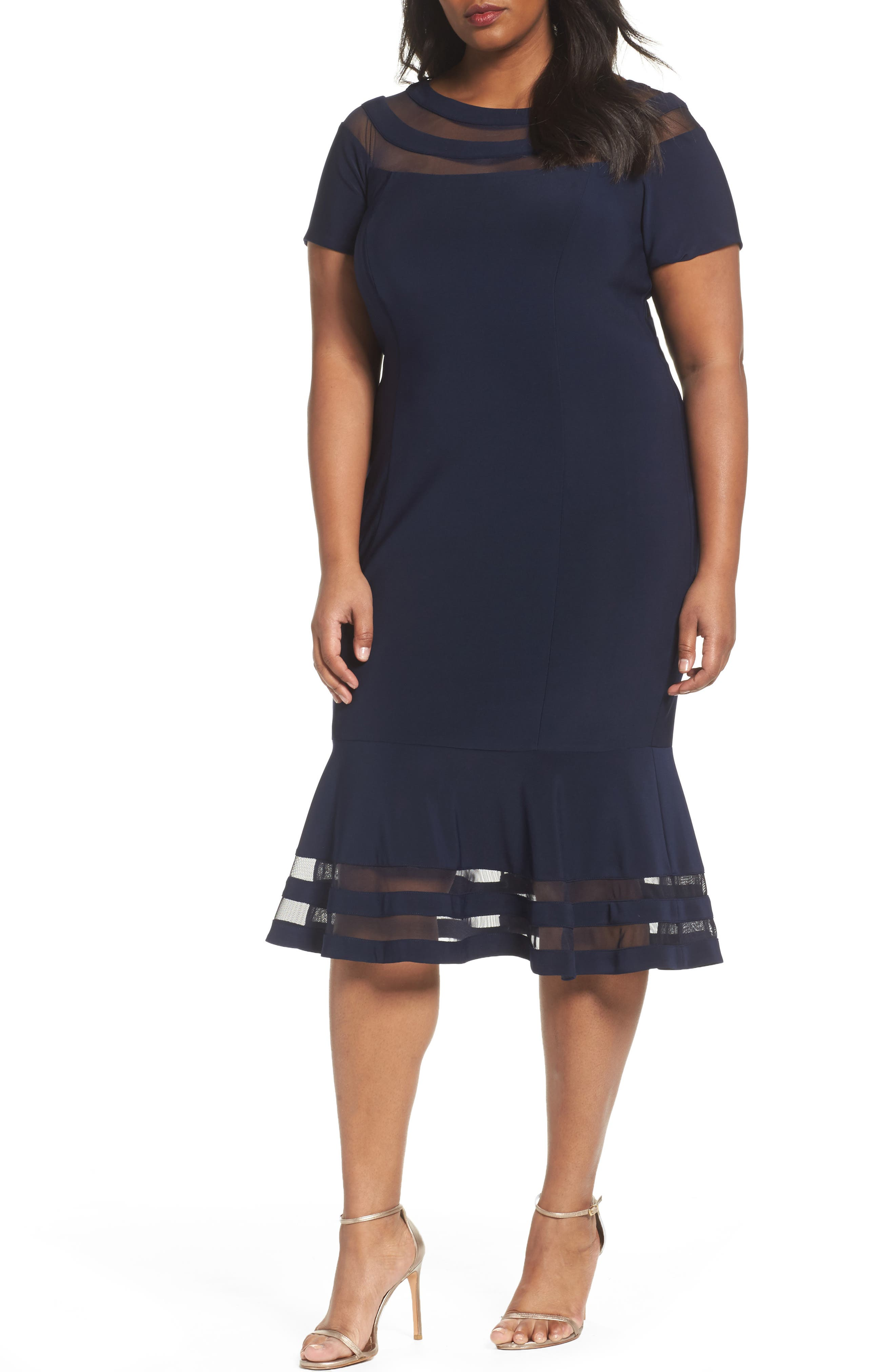 Xscape Shadow Stripe Flounce Hem Midi Dress