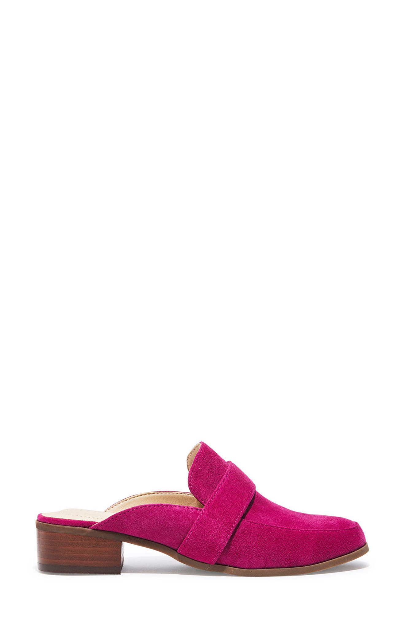 Jada Loafer Mule,                             Alternate thumbnail 3, color,                             Fuchsia Suede