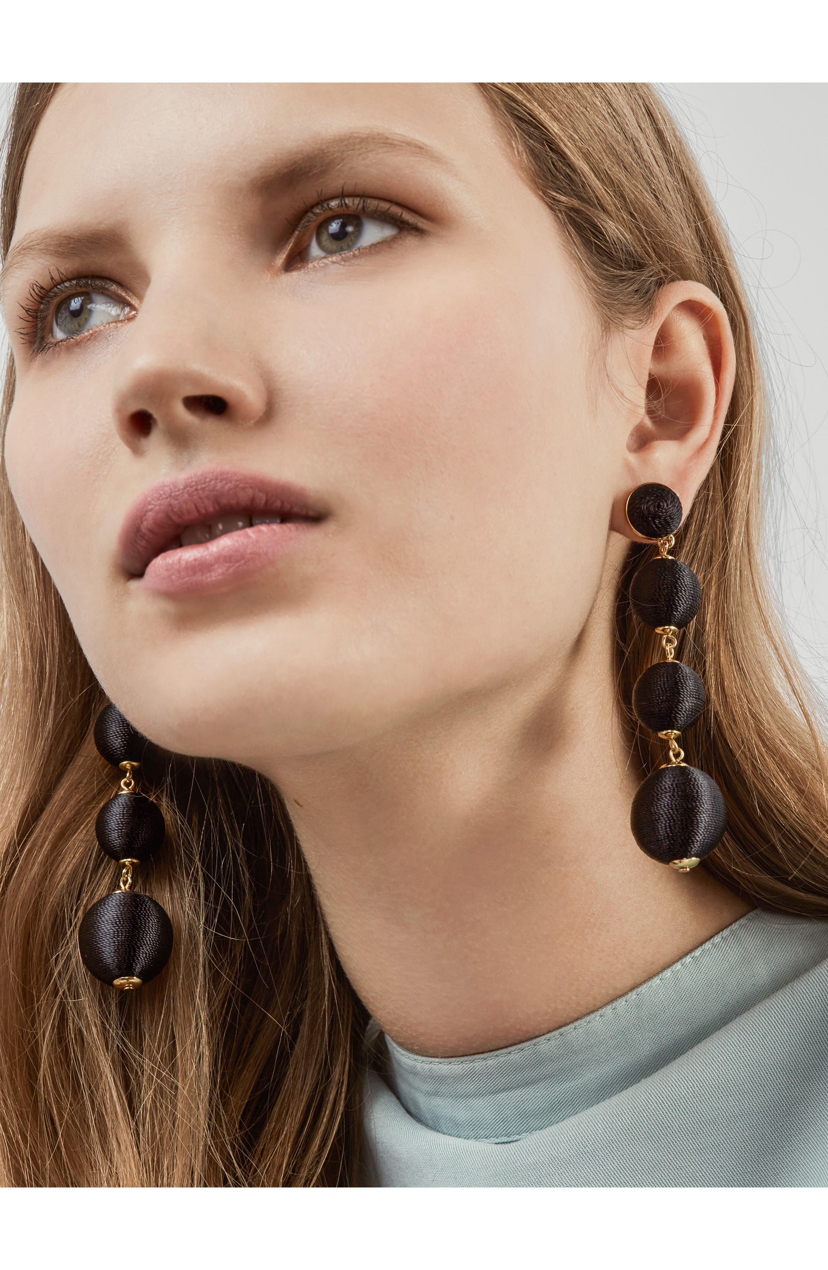 Criselda Ball Shoulder Duster Earrings,                             Alternate thumbnail 2, color,                             Black
