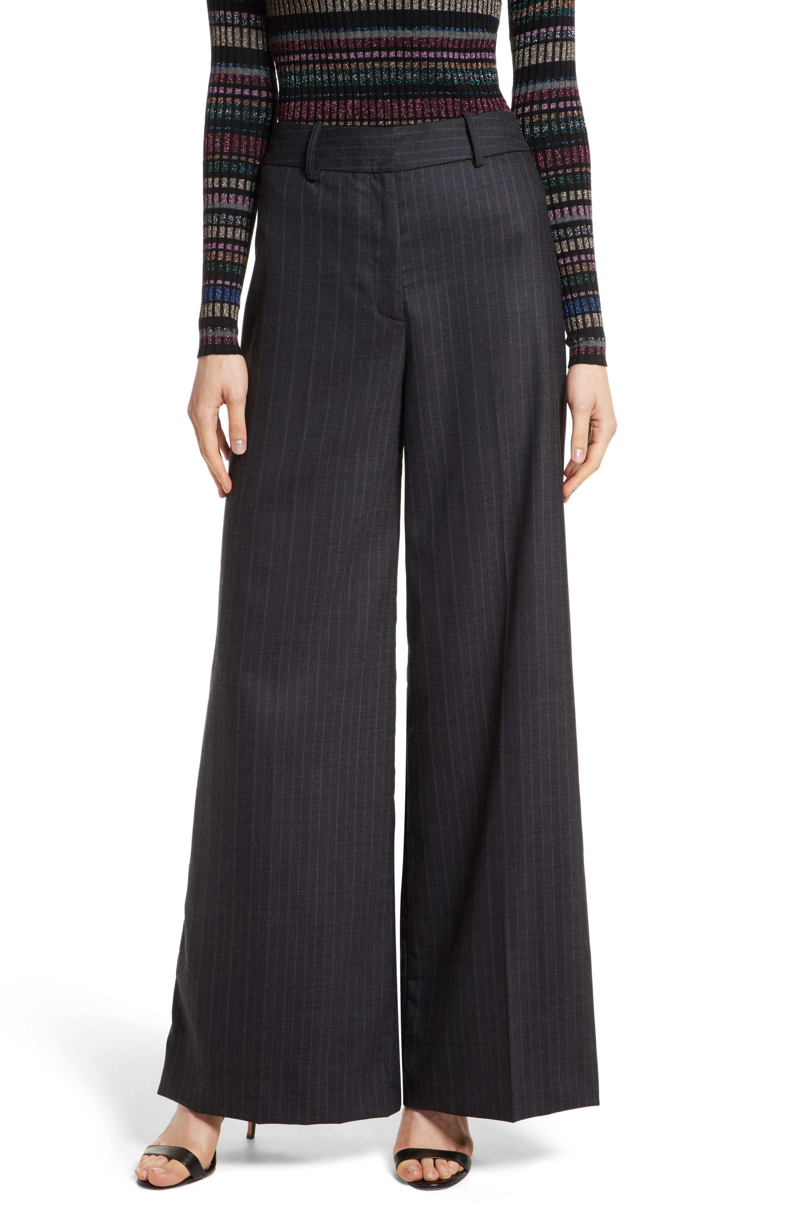 Sia Pinstripe Italian Stretch Wool Trousers,                             Main thumbnail 1, color,                             Grey Stripe