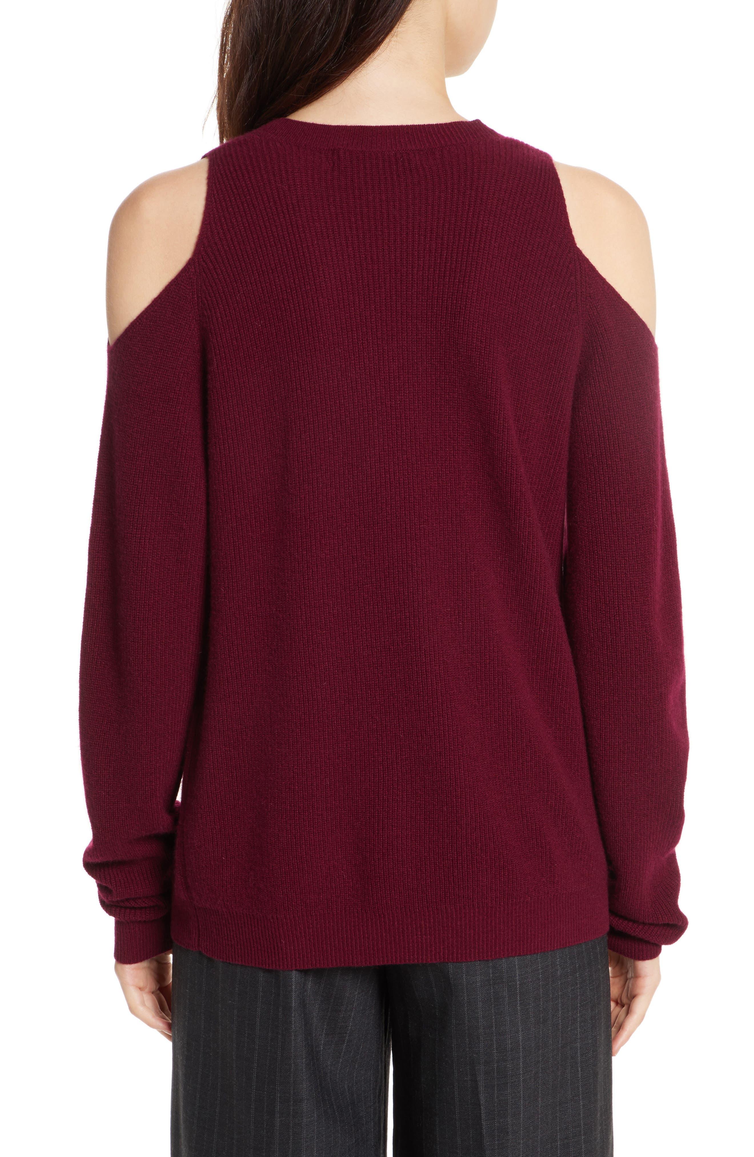 Cold Shoulder Cashmere Pullover,                             Alternate thumbnail 2, color,                             Burgundy