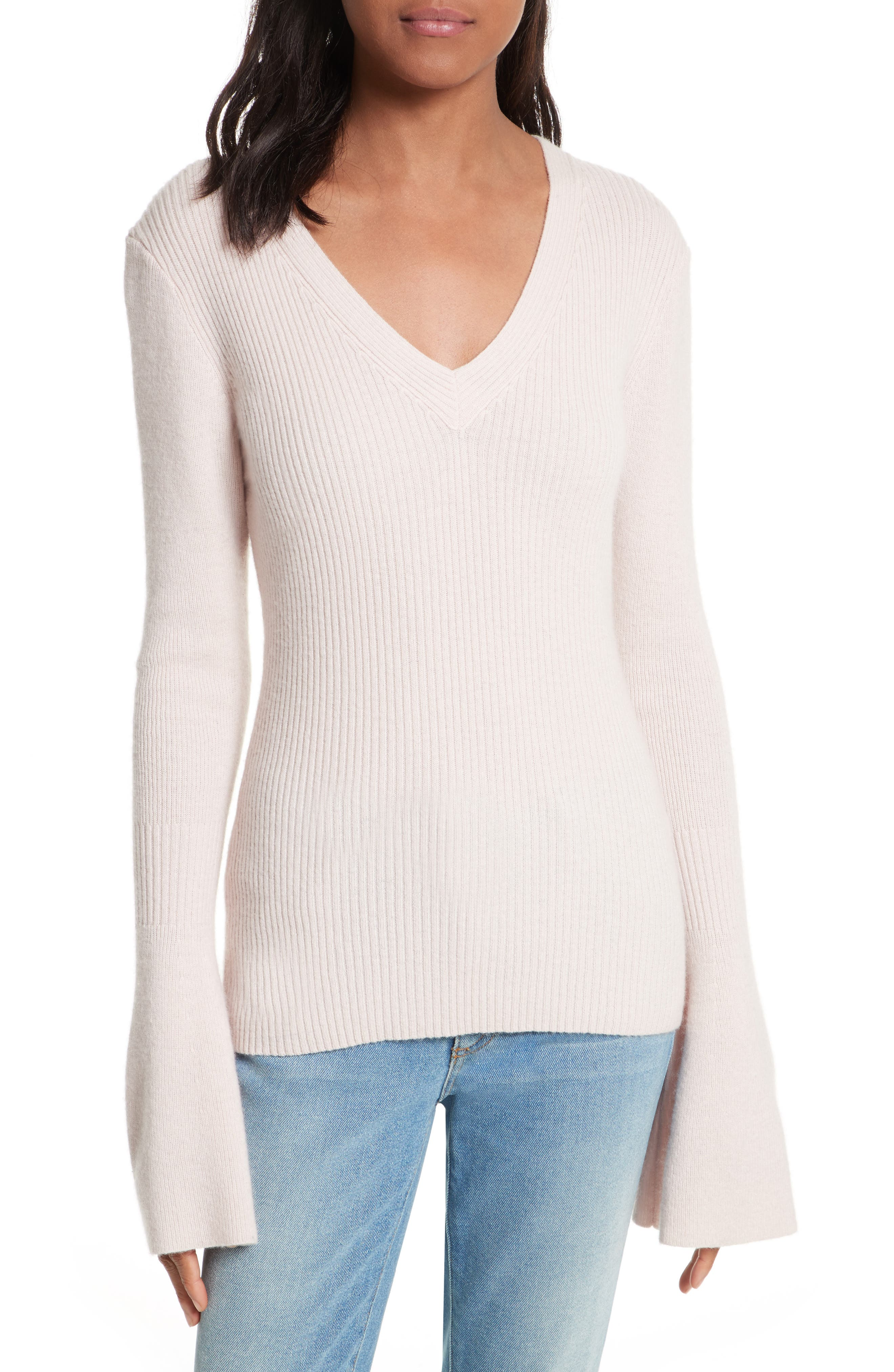 Stevie Bell Sleeve Sweater,                             Main thumbnail 1, color,                             Soft Pink