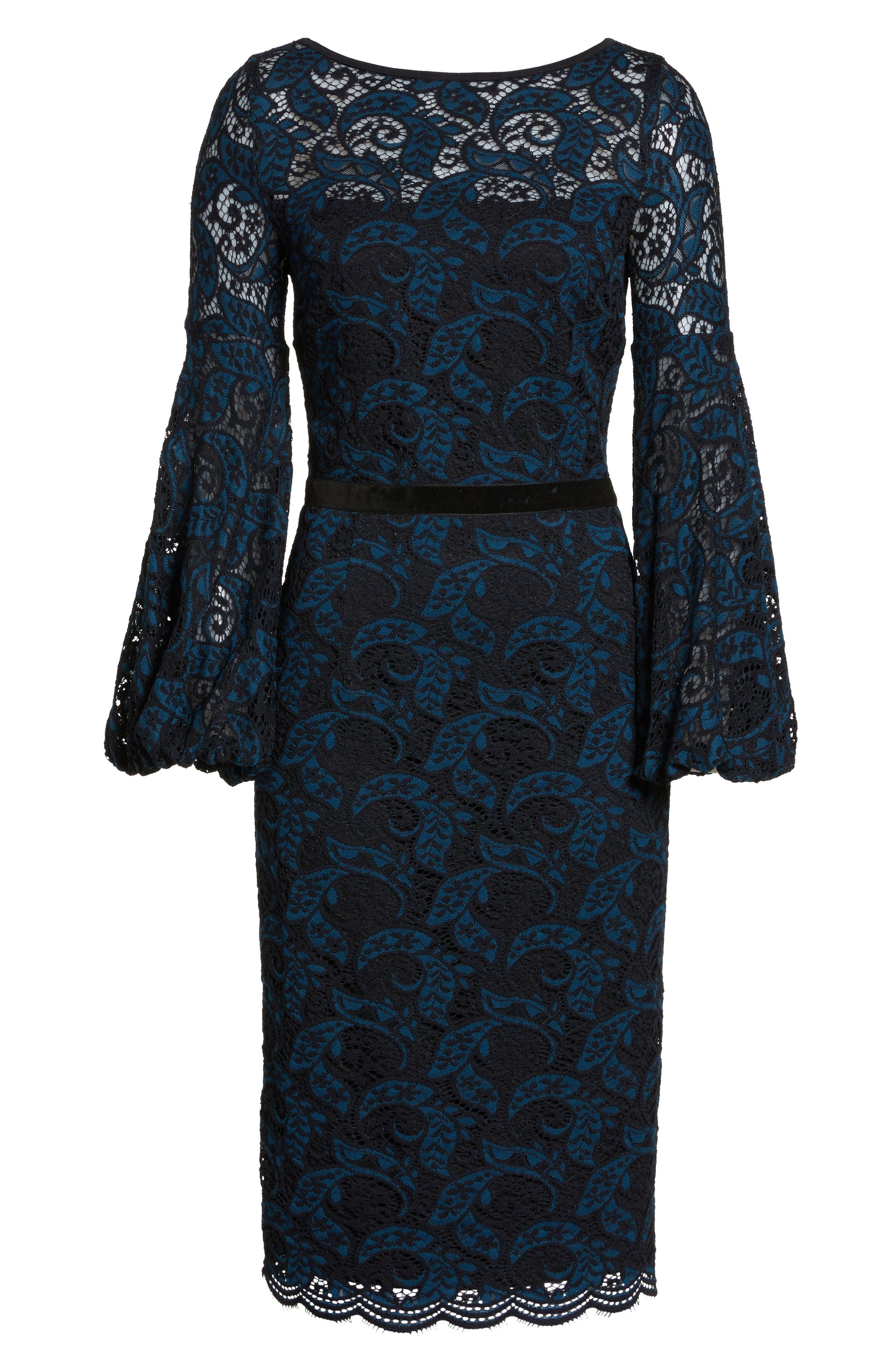Lace Bishop Sleeve Dress,                             Alternate thumbnail 6, color,                             Blue/ Black