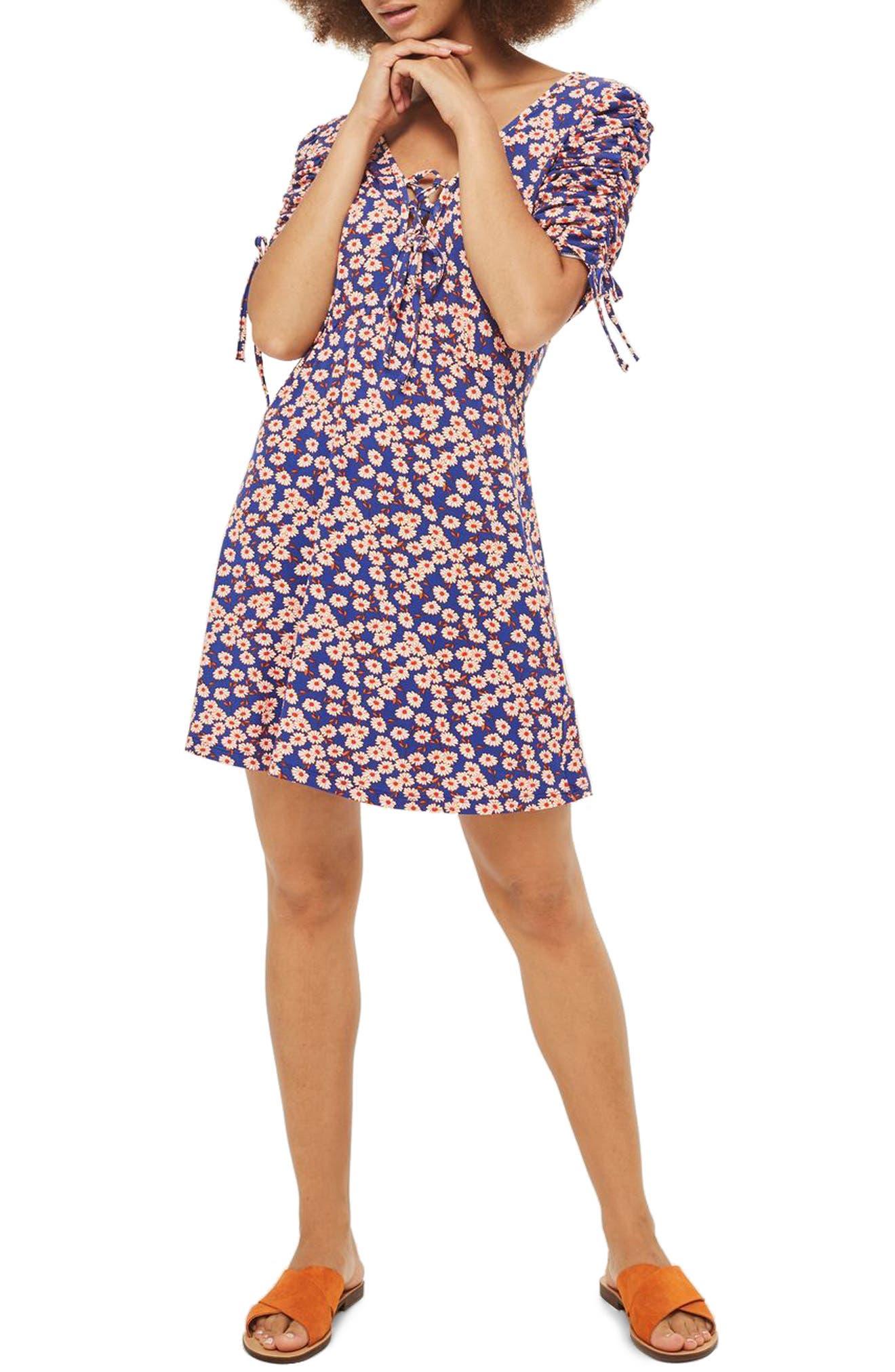 Topshop Daisy Frill Tea Dress (Petite)