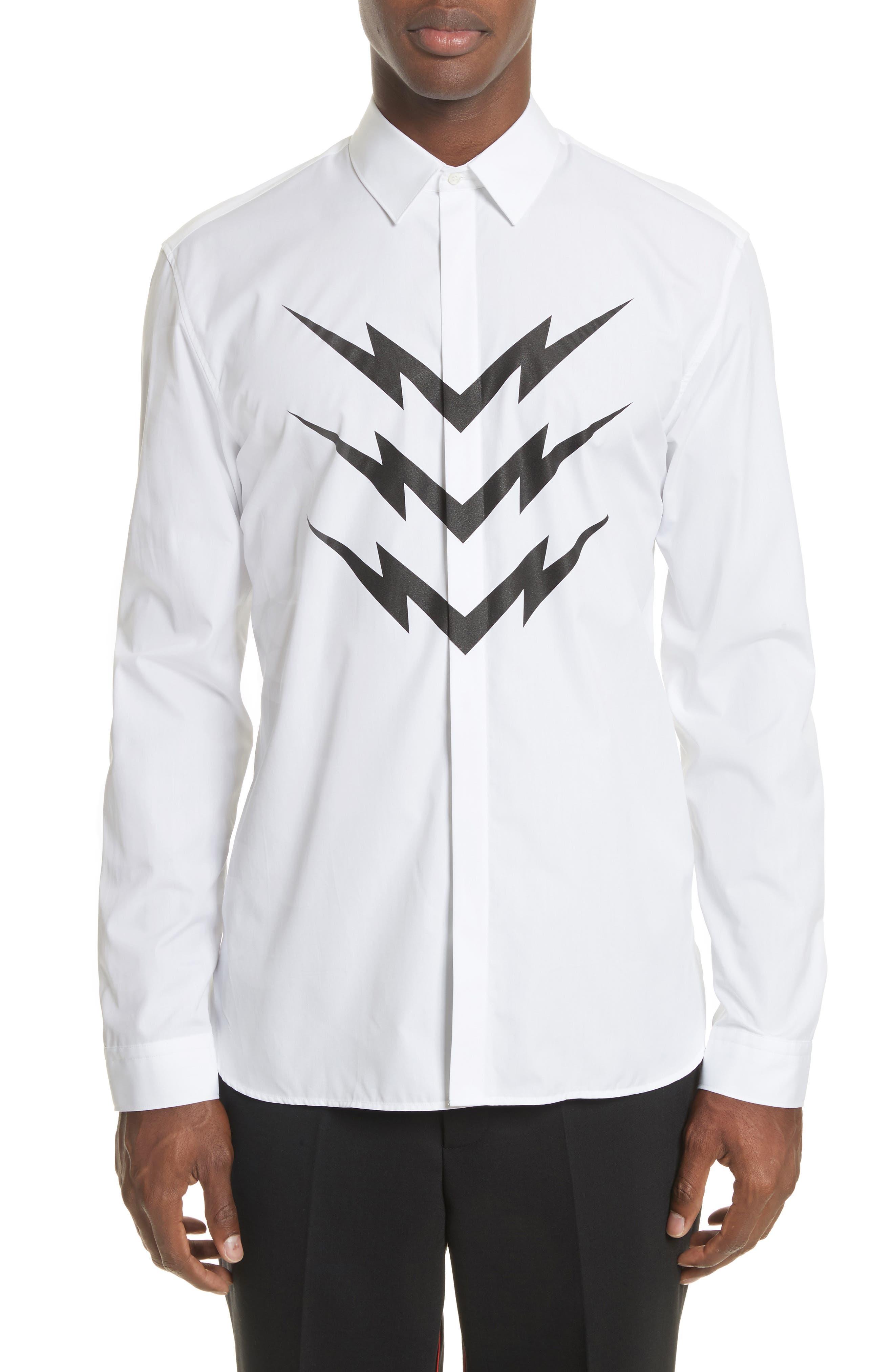 Neil Barrett Lightning Bolt Print Sport Shirt