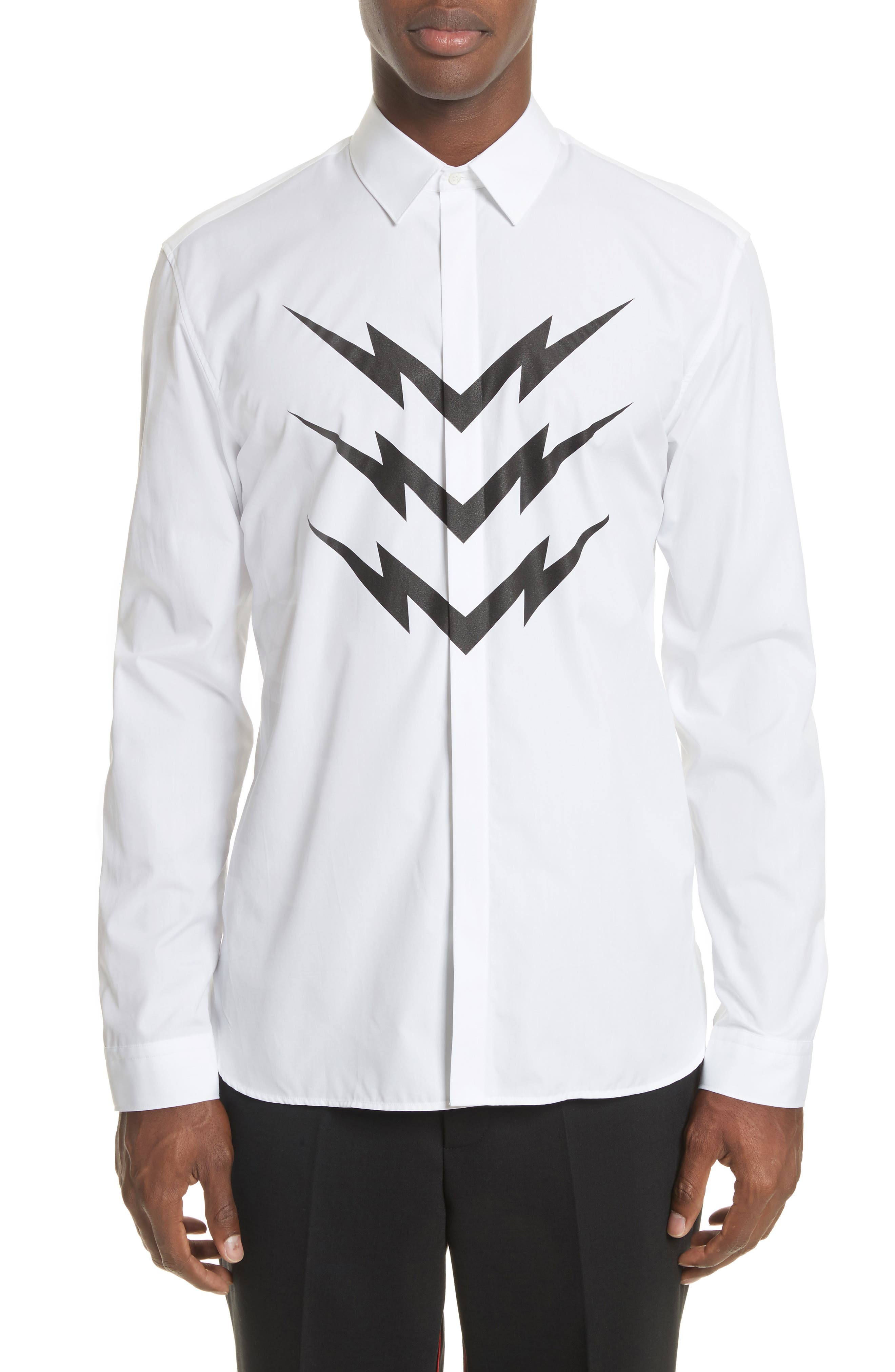 Neil Barrett Lightning Bolt Print Sport Shirt