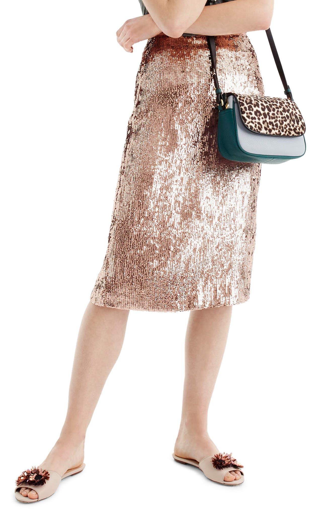 J.Crew Rose Gold Sequin Skirt