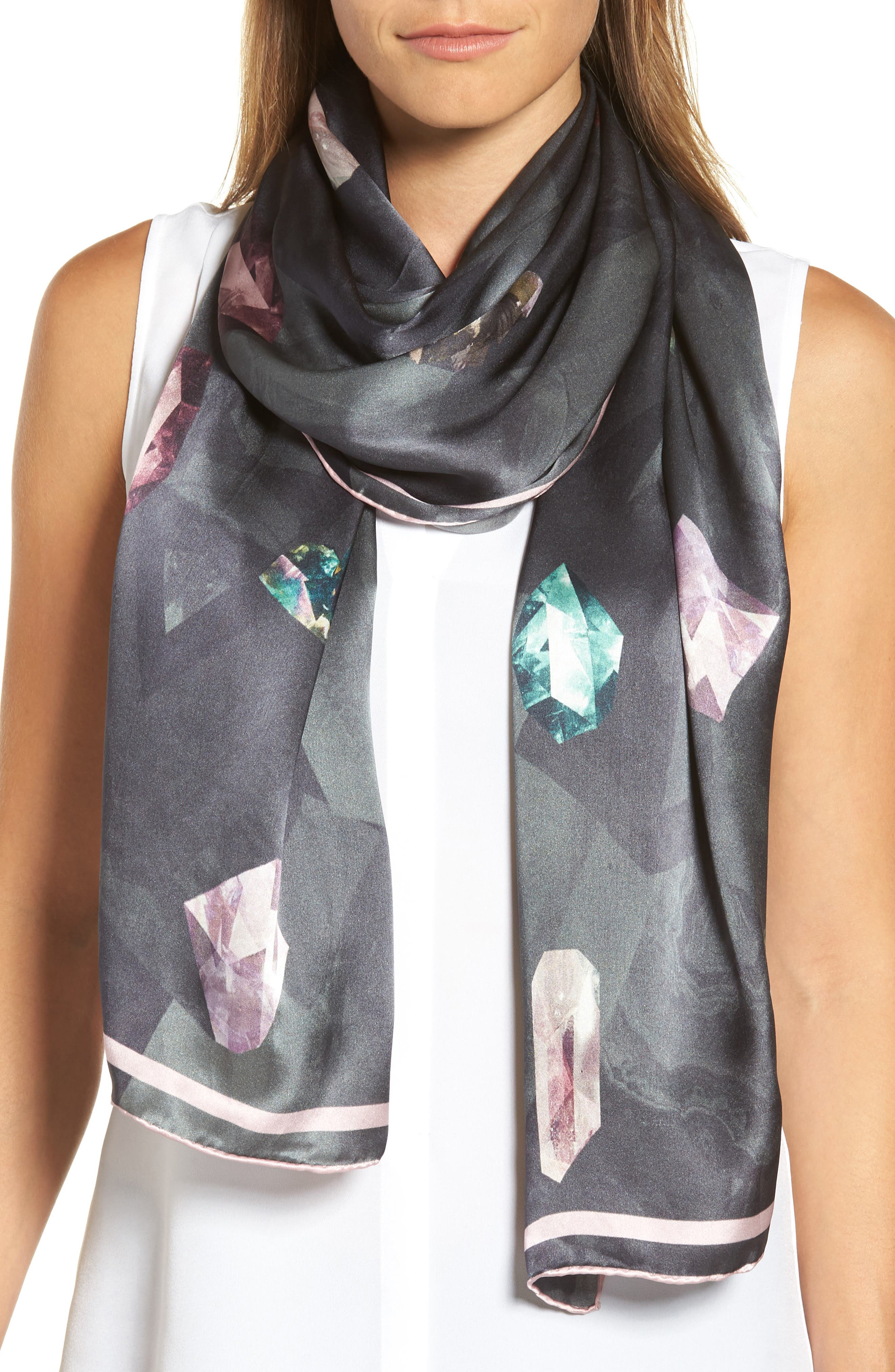 Mirrored Minerals Long Silk Scarf,                             Main thumbnail 1, color,                             Grey