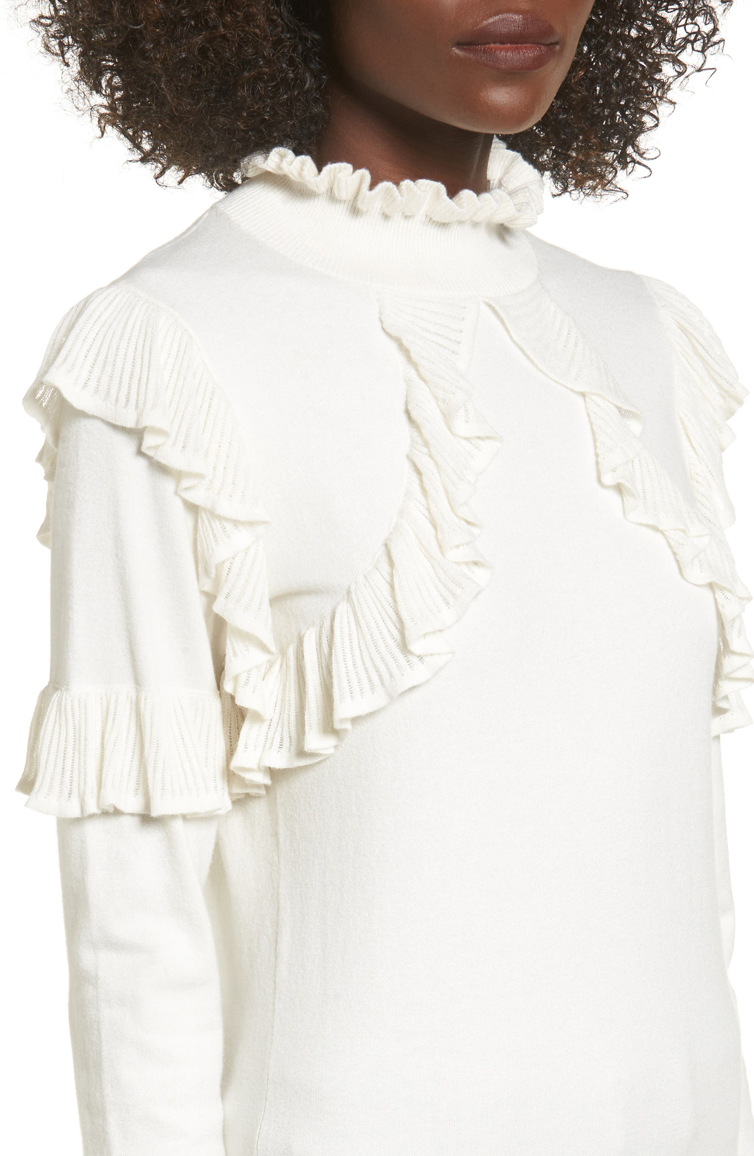 Alternate Image 4  - Leith Ruffle Trim Sweater