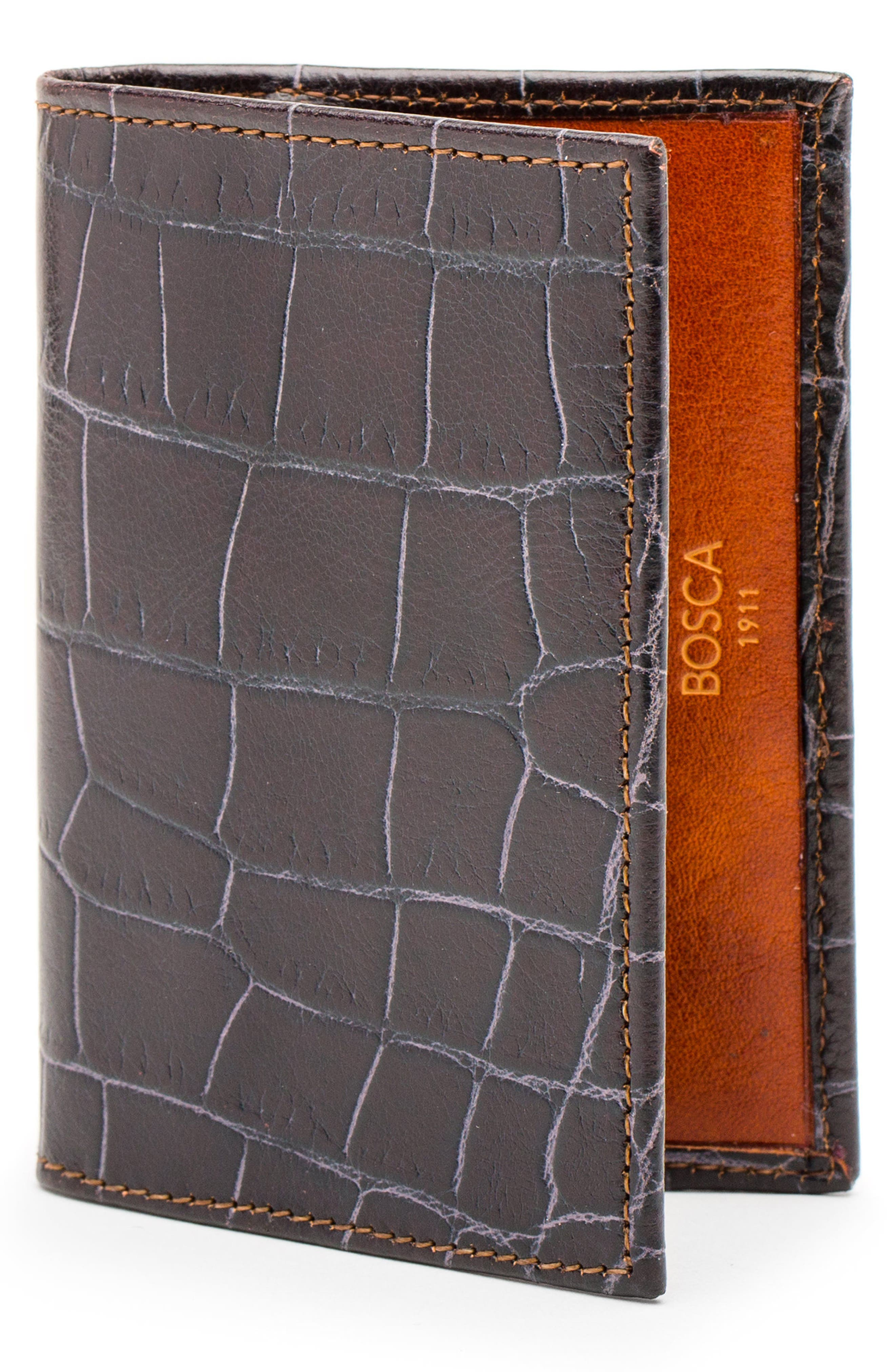 Bosca Embossed Leather Card Case