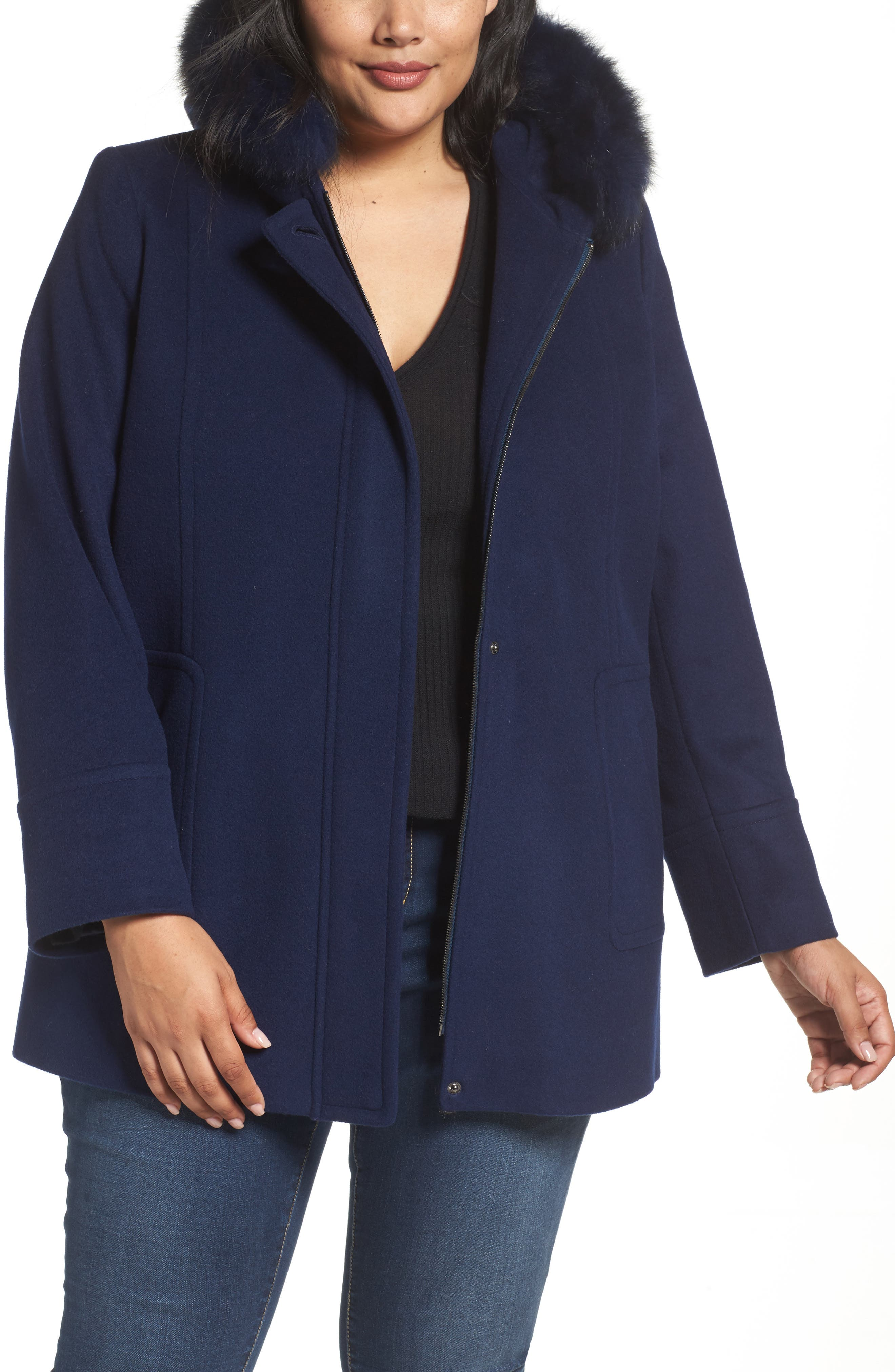 Hooded Wool Blend Coat with Genuine Fox Fur Trim,                         Main,                         color, Blue Night