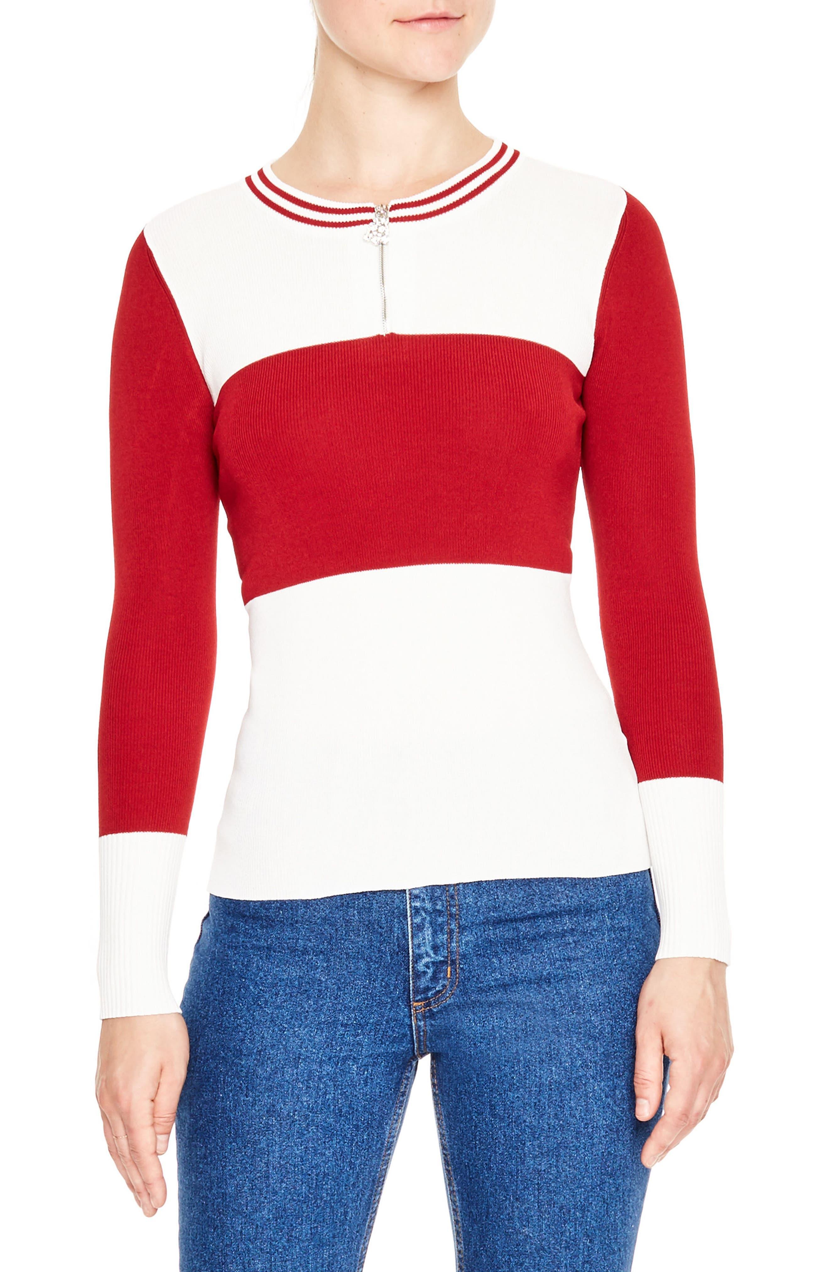 SANDRO Colorblock Half Zip Sweater