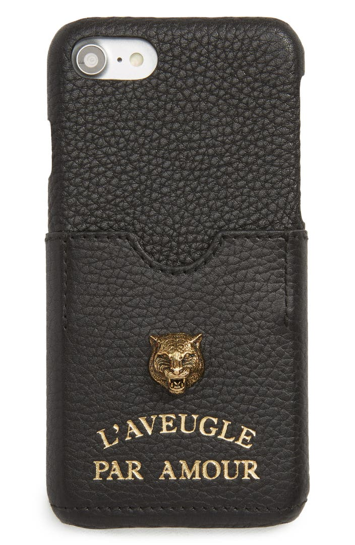 gucci tiger l 39 aveugle par amour leather iphone 7 case. Black Bedroom Furniture Sets. Home Design Ideas
