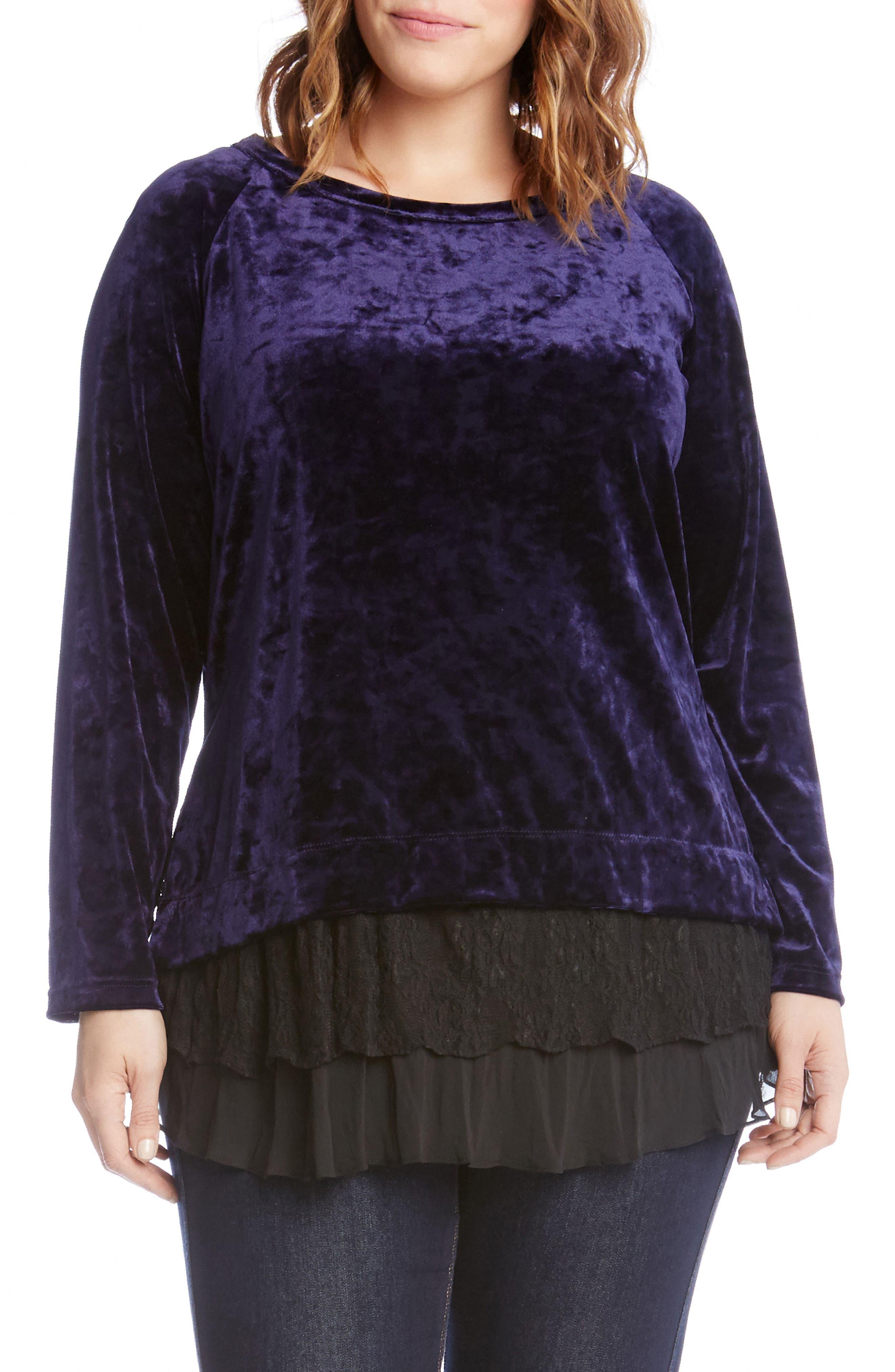 Karen Kane Lace Inset Top (Plus Size)