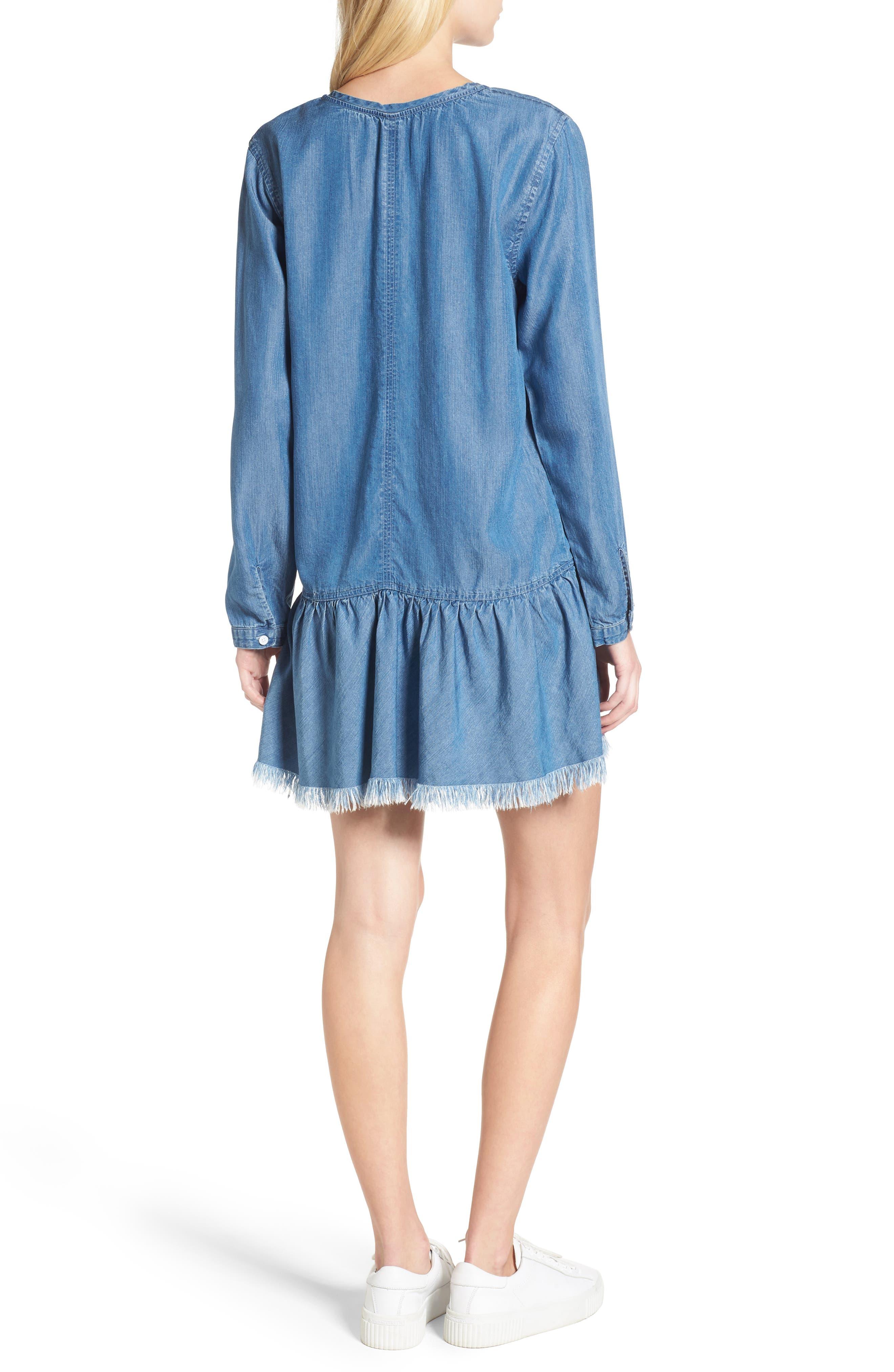 Mel Chambray Tunic Dress,                             Alternate thumbnail 3, color,                             Medium Vintage Wash