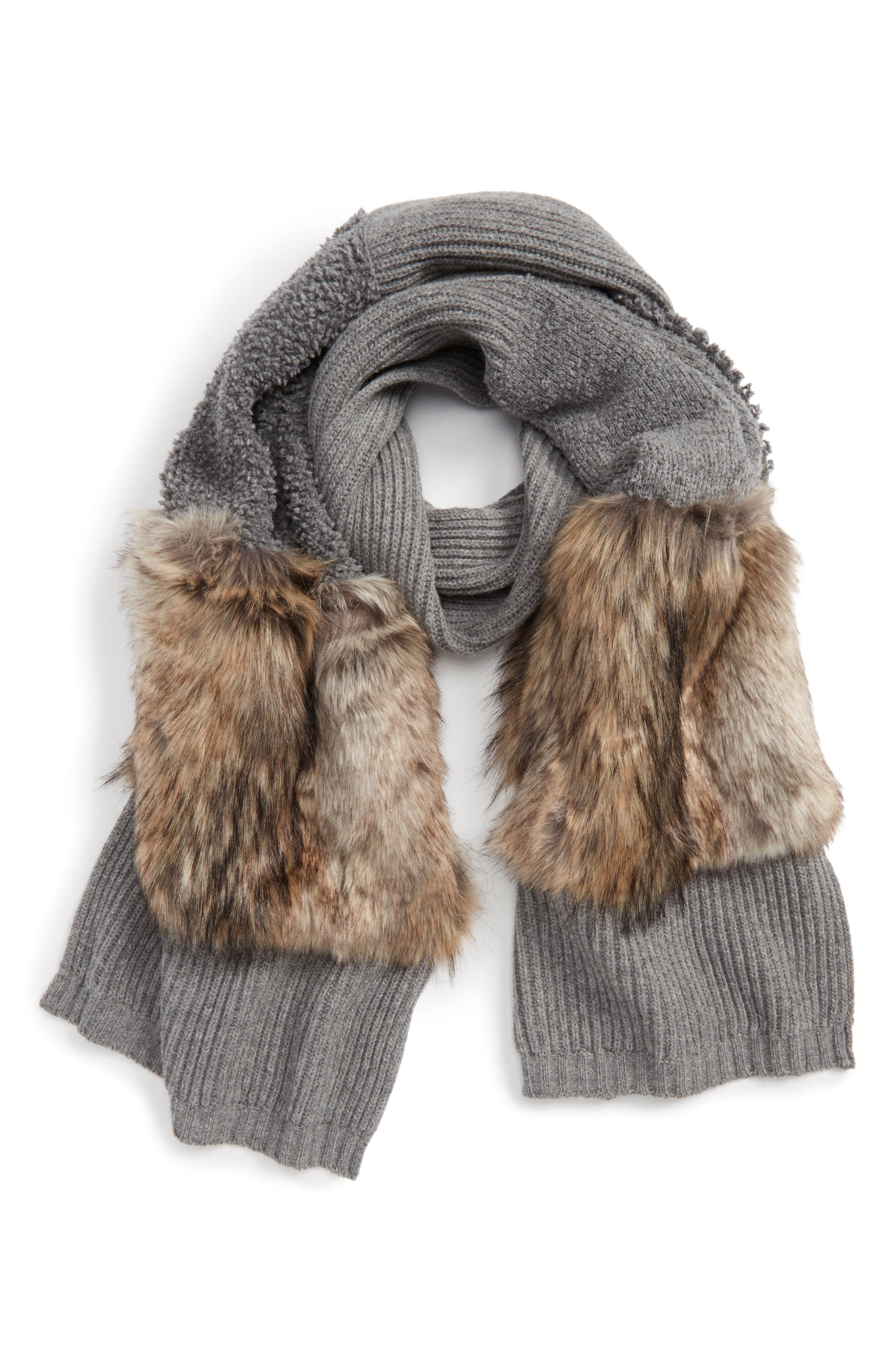 Wool Scarf with Faux Fur Panels,                         Main,                         color, Light Grey