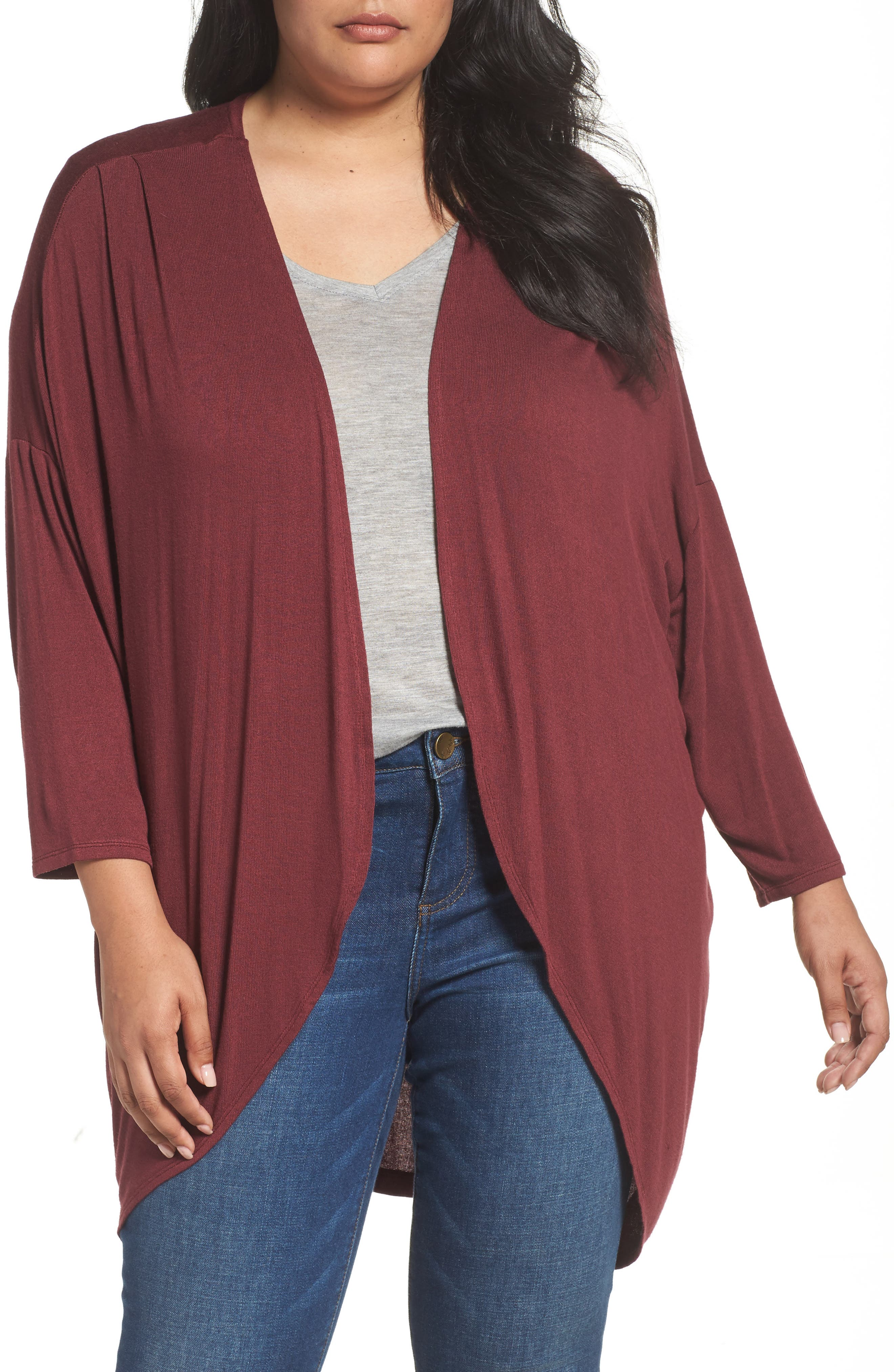 Alternate Image 1 Selected - Sejour Lightweight Cardigan (Plus Size)
