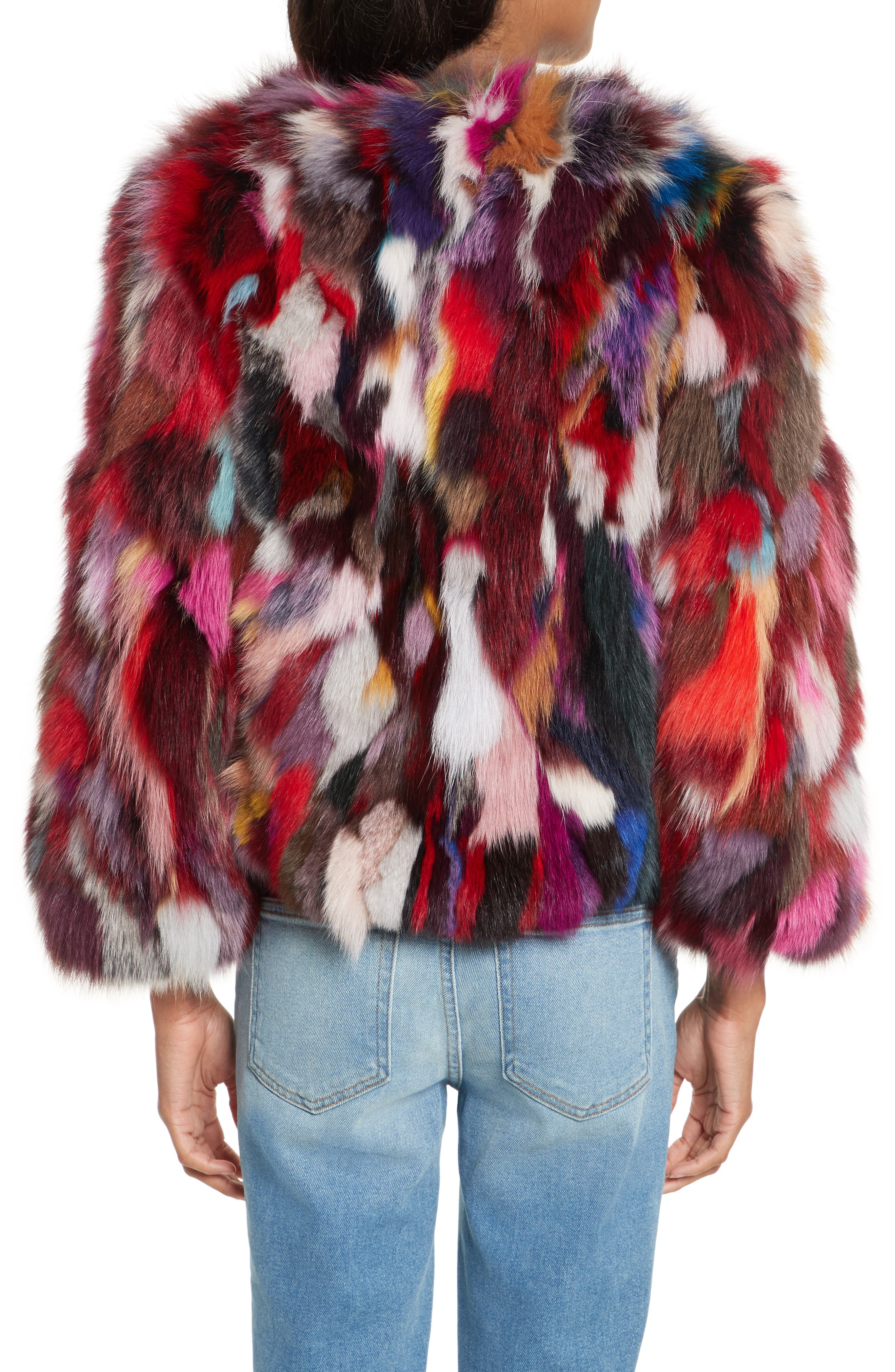 Rachel Genuine Fox Fur Jacket,                             Alternate thumbnail 2, color,                             Multi