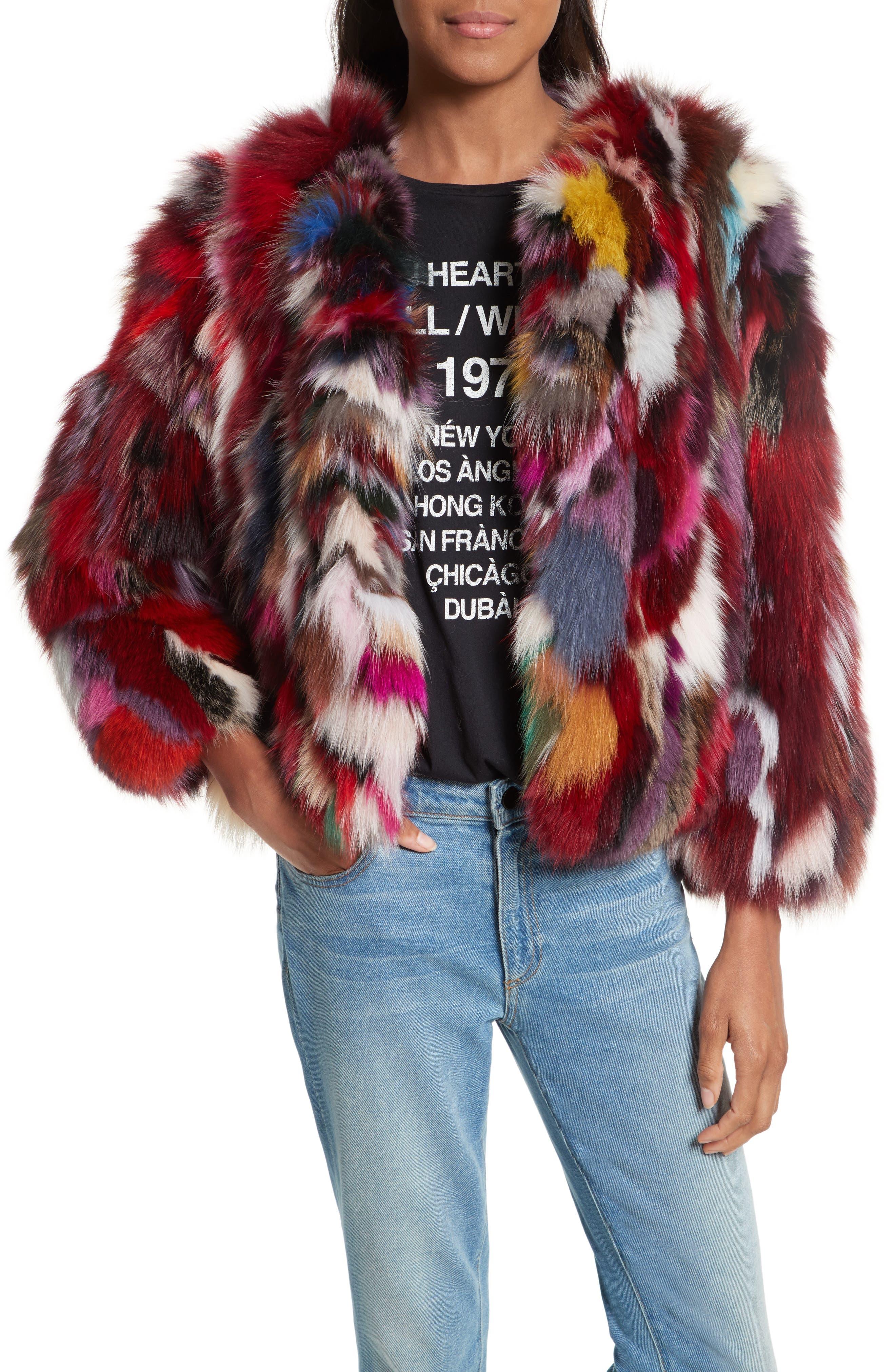 Rachel Genuine Fox Fur Jacket,                             Main thumbnail 1, color,                             Multi