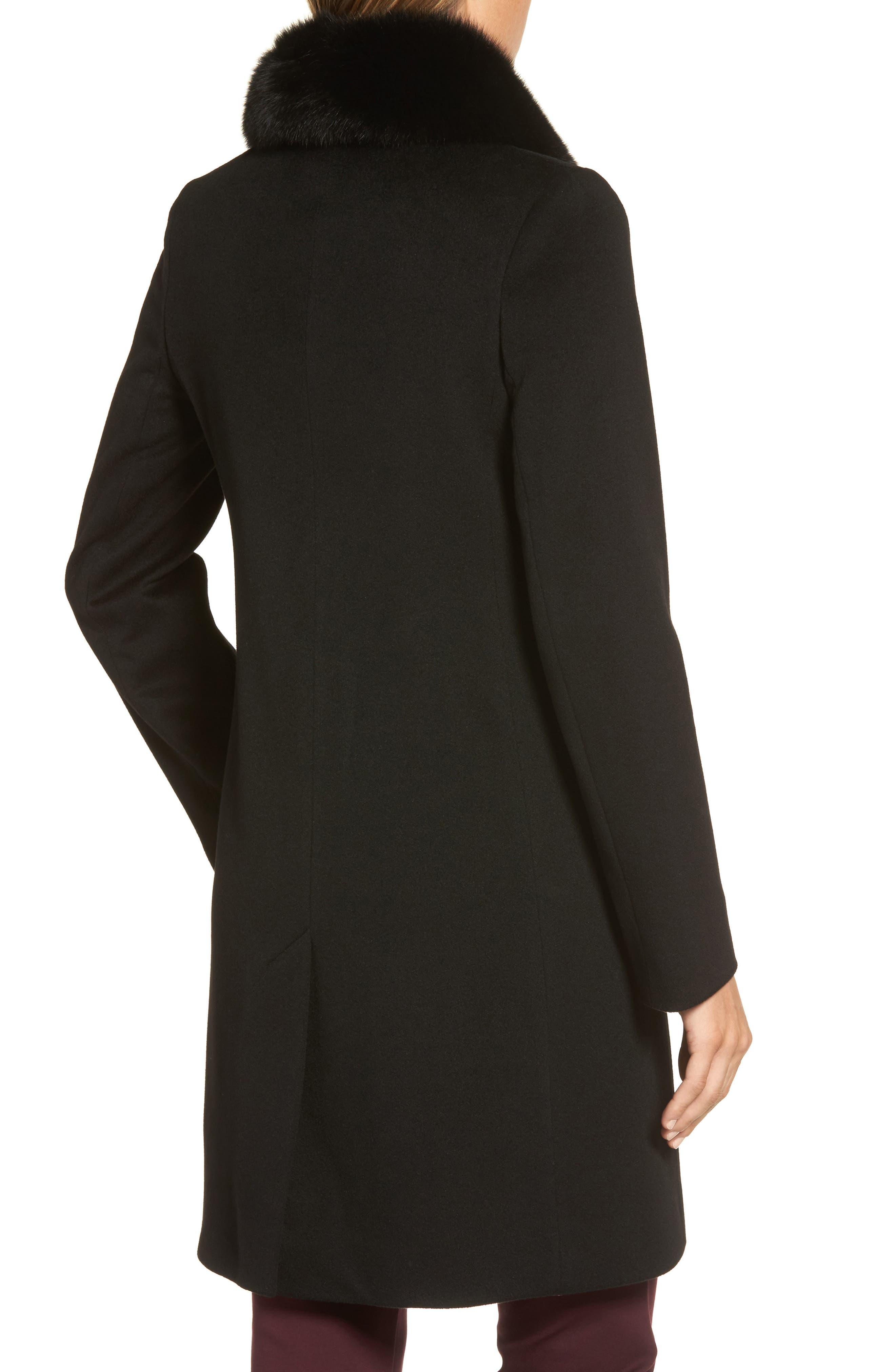 Alternate Image 2  - Fleurette Loro Piana Wool Coat with Genuine Fox Fur Collar